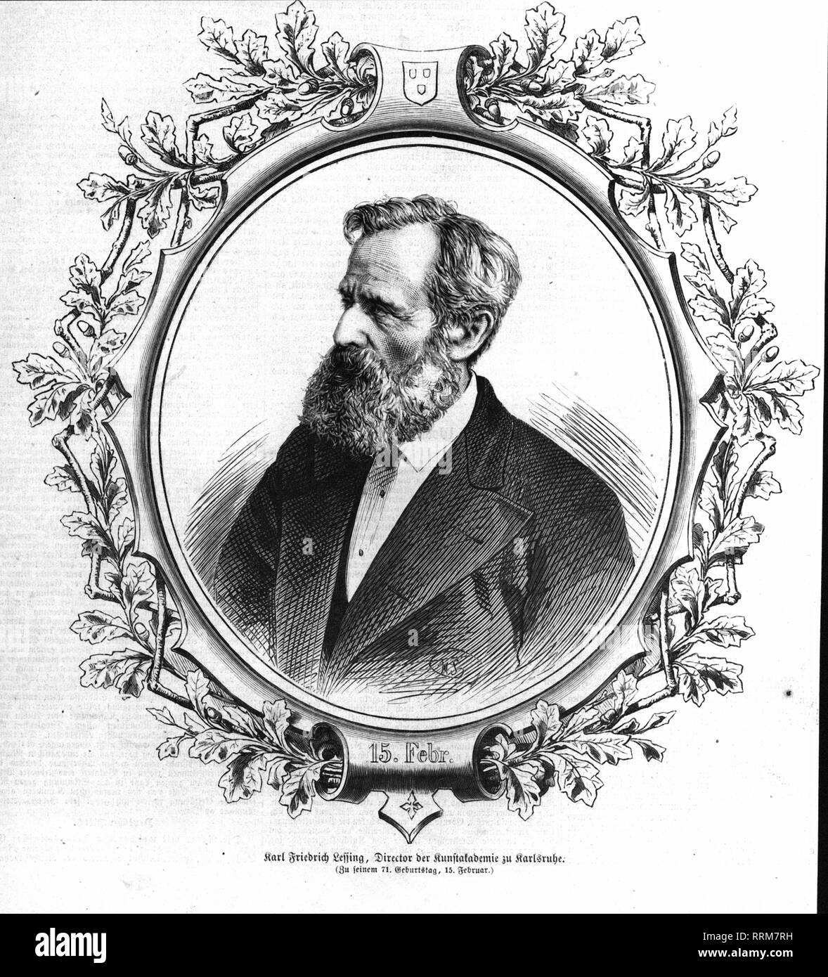 Lessing, Carl Friedrich, 15.2.1808 - 4.6.1880, German painter, portrait, wood engraving, published in 1879, Additional-Rights-Clearance-Info-Not-Available - Stock Image