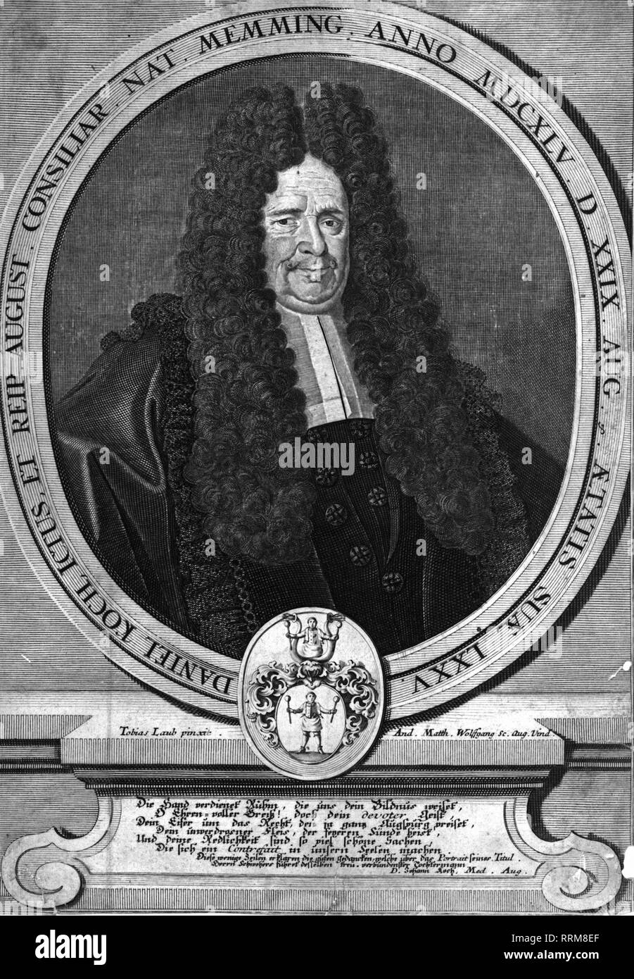 Koch, Daniel, 1645 - 1723, German lawyer/jurist, portrait, copper engraving by Andreas Matthaeus Wolfgang (1660 - 1736), after painting by Tobias Laub (1685 - 1761), 1720, Artist's Copyright has not to be cleared - Stock Image