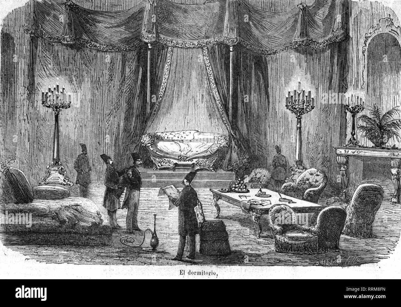 Nasser-al-Din Shah, 16.7.1831 - 1.5.1896, Shah of Persia 1848 - 1896, his palace, interior view, bedroom, wood engraving, 1873, Additional-Rights-Clearance-Info-Not-Available - Stock Image