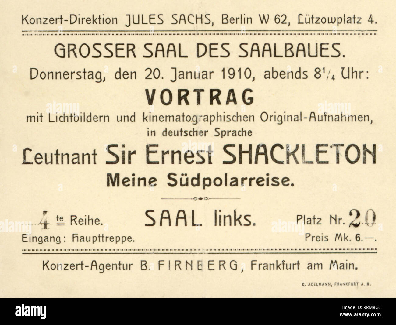 Shackleton, Ernest, 15.2.1874 - 5.1.1922, British arctic explorer, admission ticket for a lecture about his Antarctic expedition, Berlin, Germany, 20.1.1910, Additional-Rights-Clearance-Info-Not-Available - Stock Image