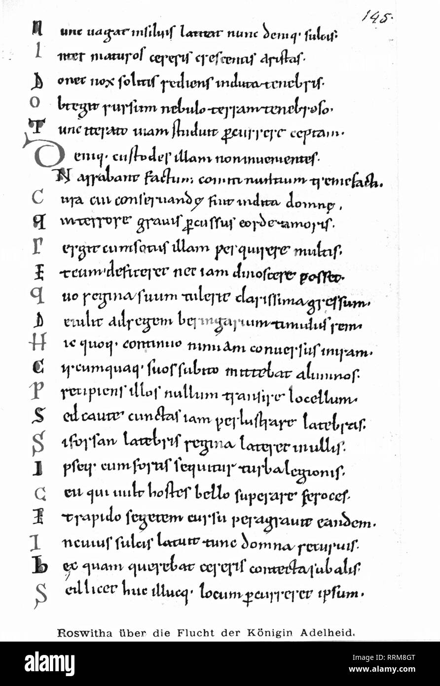 Hrotsvitha, circa 935 - after 973, German poetess, works, 'Gesta Ottonis', about the escape of queen Adelaide of Italy, 10th / 11th century, Additional-Rights-Clearance-Info-Not-Available - Stock Image
