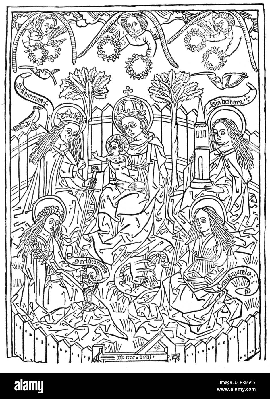 Saint Mary, Virgin Mother, with the child, woodcut, 1418, Additional-Rights-Clearance-Info-Not-Available - Stock Image