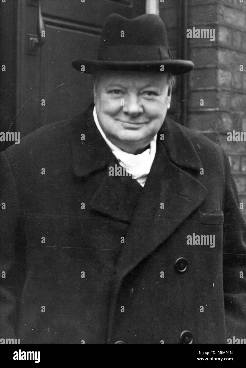 Churchill, Winston, 30.11.1874 - 24.1.1965, British politician (Cons.), Leader of the Opposition 1945 - 1951, half length, at his 73rd birthday, 28 Hyde Park Gate, Kensington, London, 30.11.1946, Additional-Rights-Clearance-Info-Not-Available - Stock Image