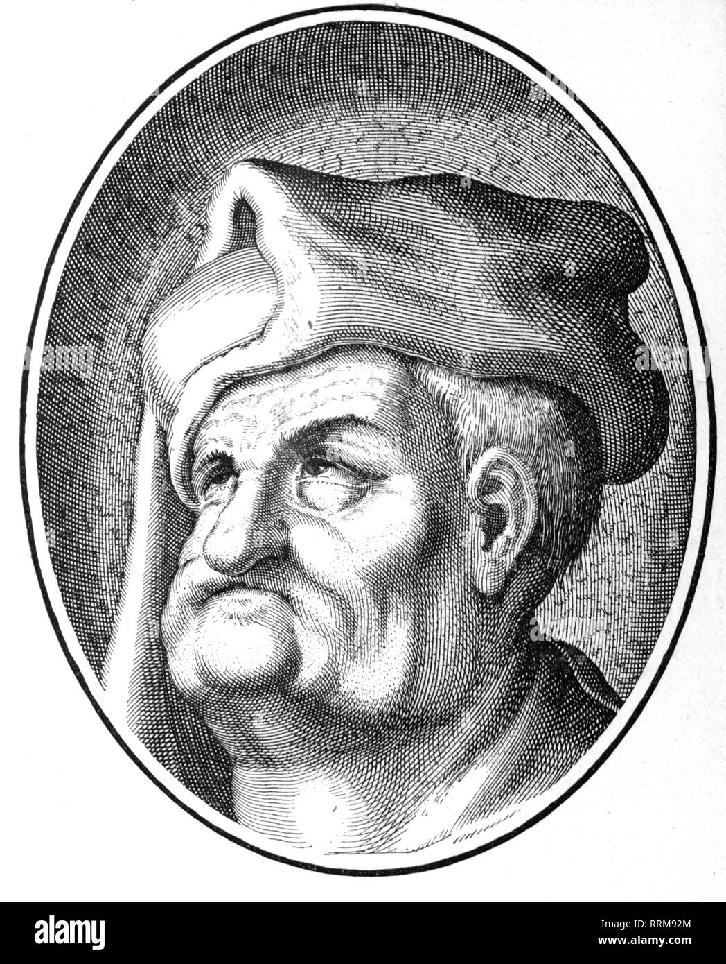 Claus Narr, before 1486 - after 1530, Saxon jester, portrait, after copper engraving, 16th century, Artist's Copyright has not to be cleared - Stock Image