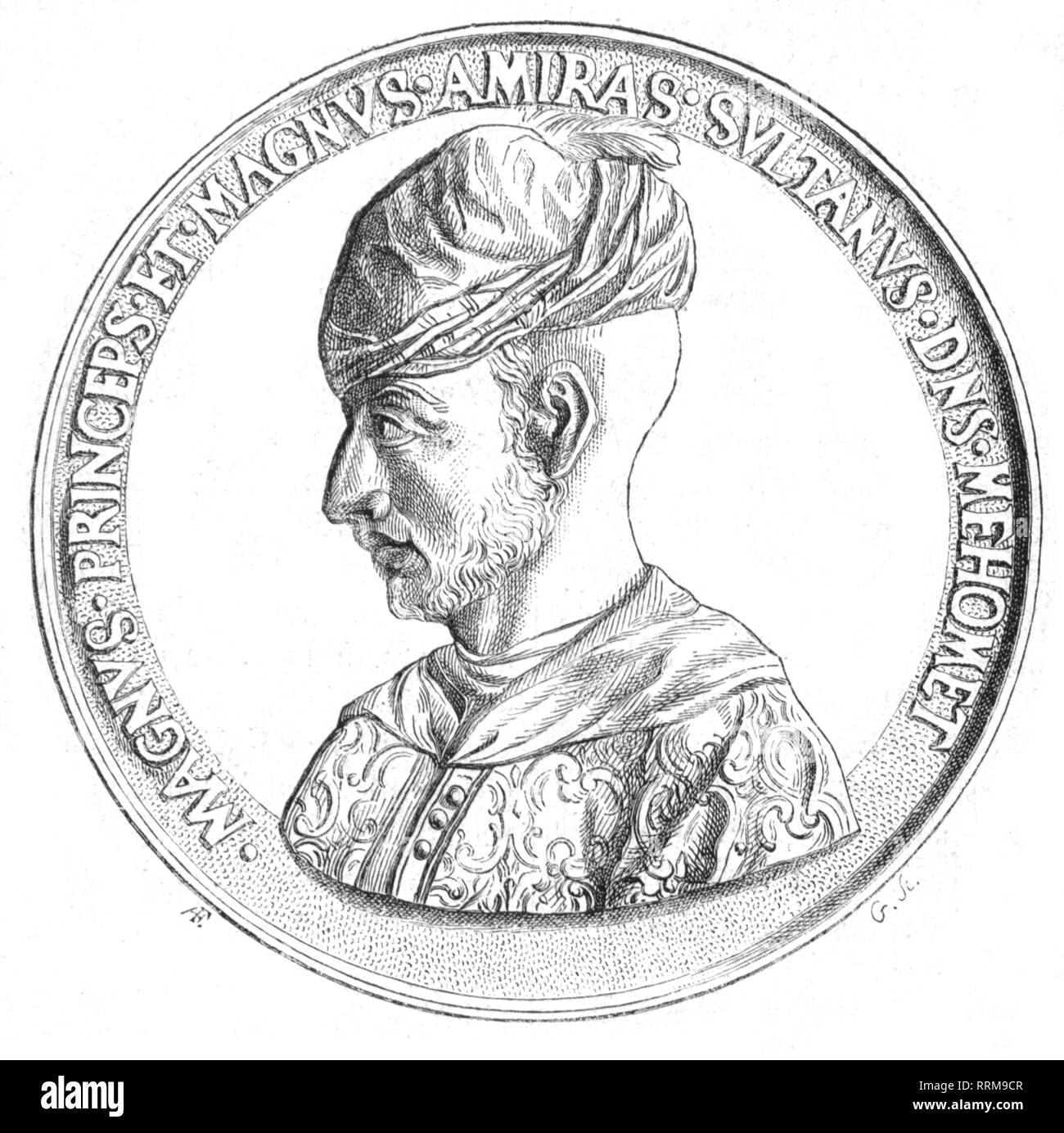 Mehmed II Fatih, 30.3.1432 - 3.5.1481, Sultan of the Ottoman Empire 3.2.1451 - 3.5.1481, portrait, medal by Jehan Triaudet de Selongey, 1454 - 1455, obverse, wood engraving, 1868, Additional-Rights-Clearance-Info-Not-Available - Stock Image