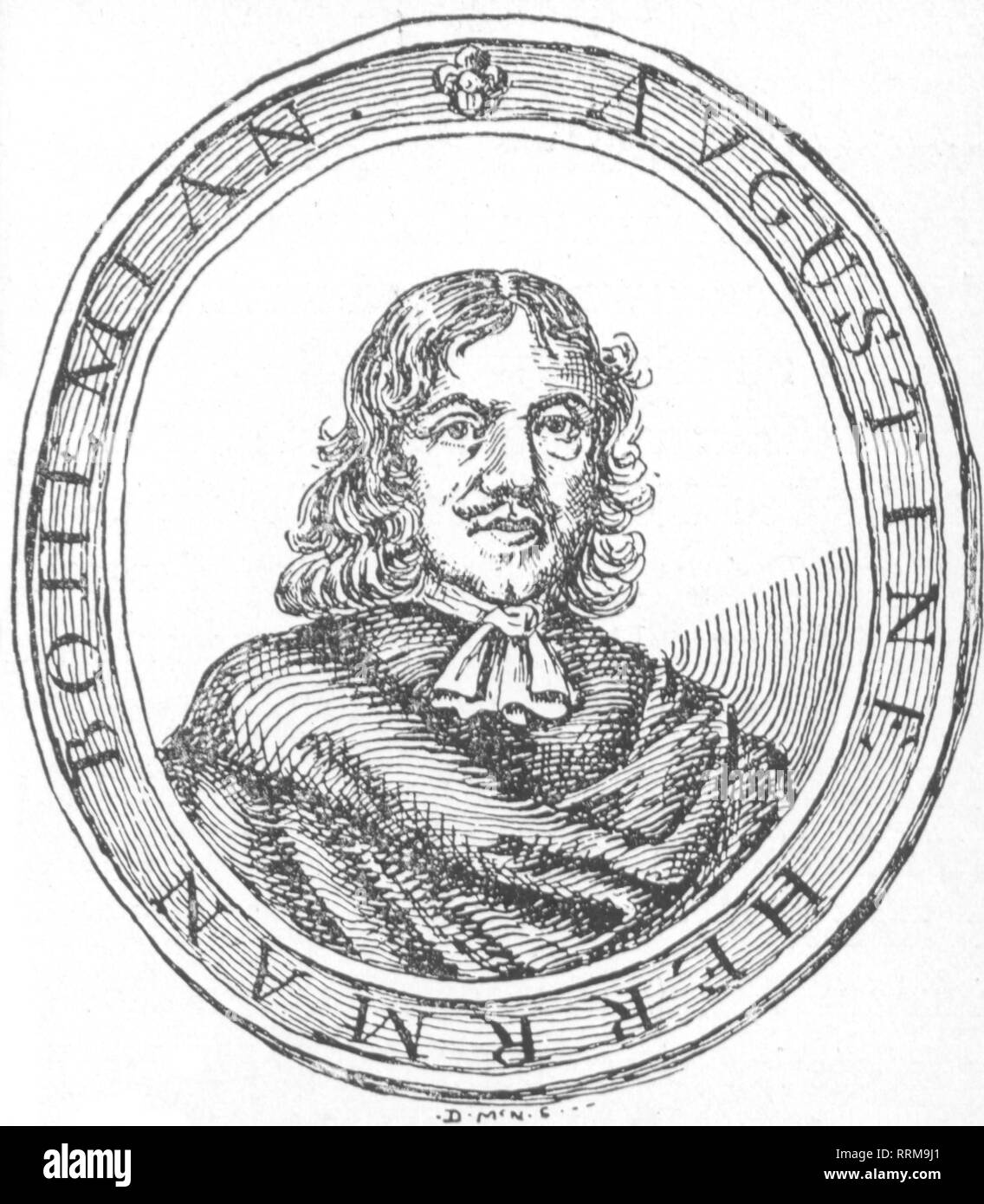 Herrman, Augustin, circa 1621 - September 1686, Bohemian discoverer, merchant and cartographer, portrait, copper engraving, 17th century, Additional-Rights-Clearance-Info-Not-Available - Stock Image
