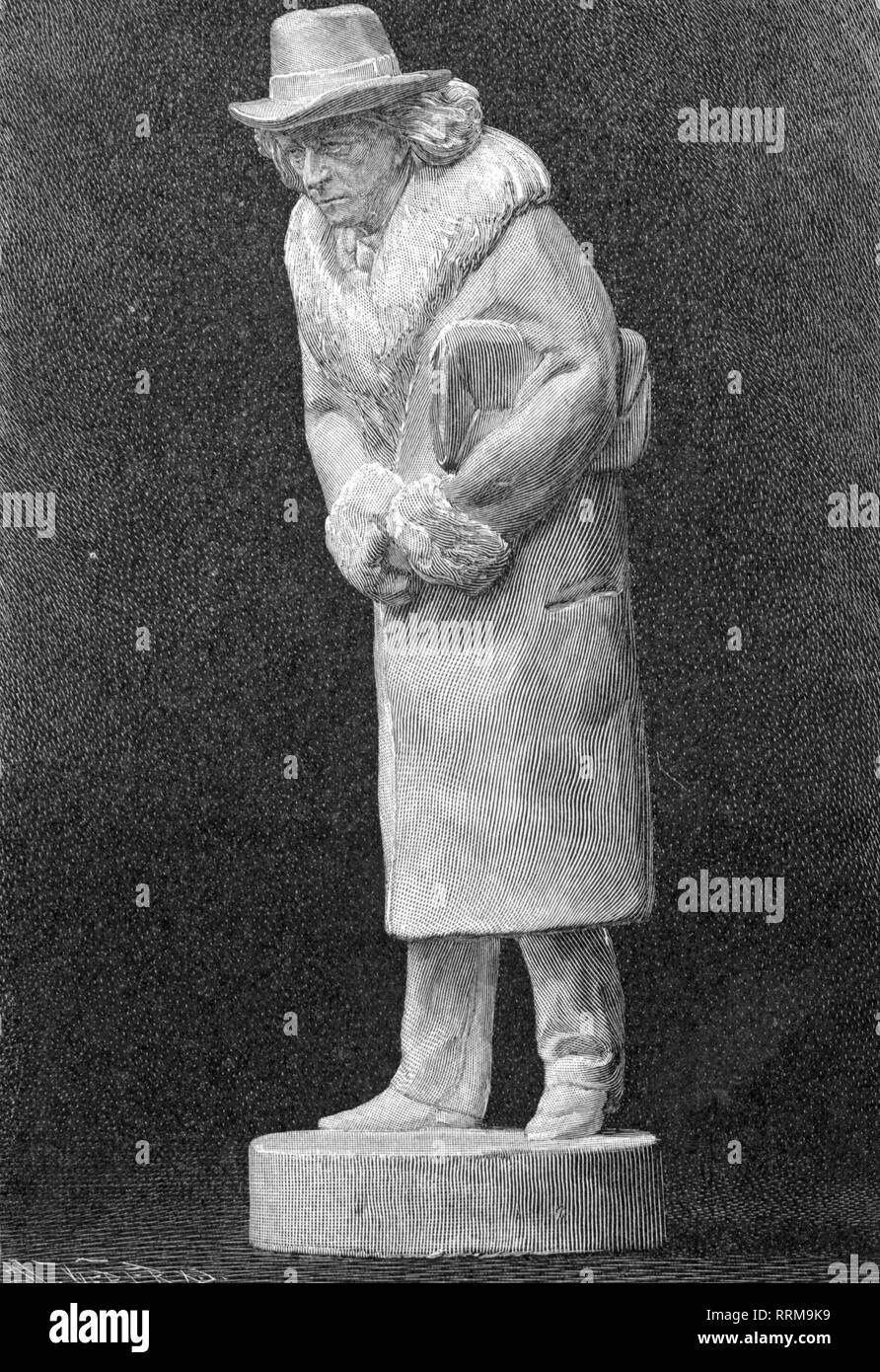 Mommsen, Theodor, 30.11.1817 - 1.11.1903, German historian, full length, statuette by Karl Pracht, wood engraving, circa 1900, Additional-Rights-Clearance-Info-Not-Available - Stock Image