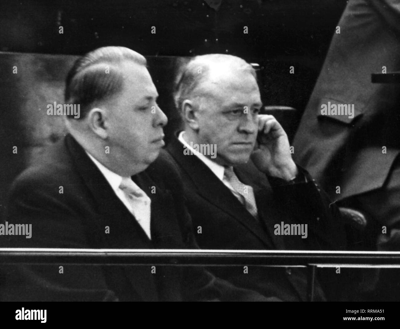 Zorin, Valerian Alexandrovich, 1.1.1902 - 14.1.1986, Soviet diplomat, ambassador of the USSR to the Federal Republic of Germany 1956 - 1957, portrait, visiting a session of the Federal Parliament, 15.3.1956, with counsellor Sergey Kudriavzev, Additional-Rights-Clearance-Info-Not-Available - Stock Image