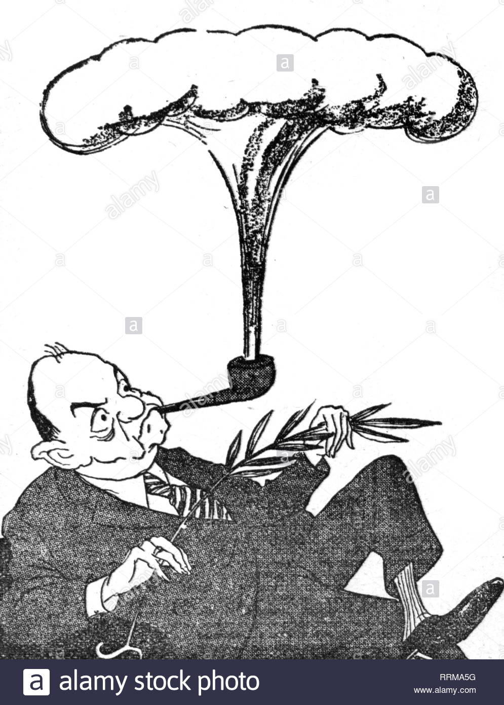 Rusk, Dean, 9.2.1909 - 20.12.1994, American politician (Democrats), Unites States Secretary of State 21. 1. 1961 - 20. 1. 1969, half length, caricature, 'Calumet from Overseas', drawing by Kukryniksy, 'Pravda', 23.6.1962, Artist's Copyright must also be cleared - Stock Image