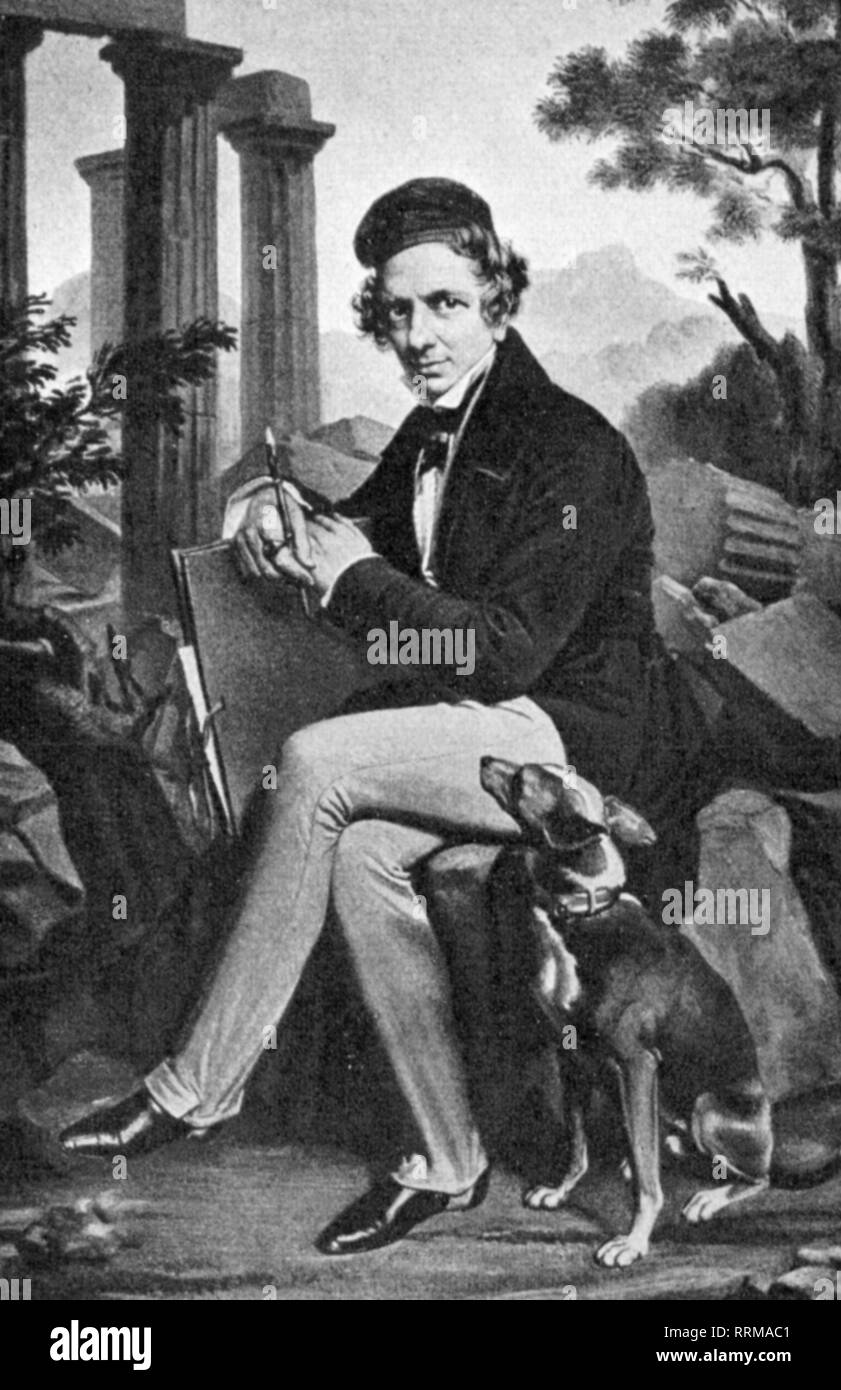 Stackelberg, Otto Magnus von, 3.7.(14.7.)1786 - 20.3.(1.4.)1837, Swedish-Estonian archeologist, painter and author / writer, full length, after painting by Karl Vogel von Vogelstein, 1831, Artist's Copyright has not to be cleared - Stock Image