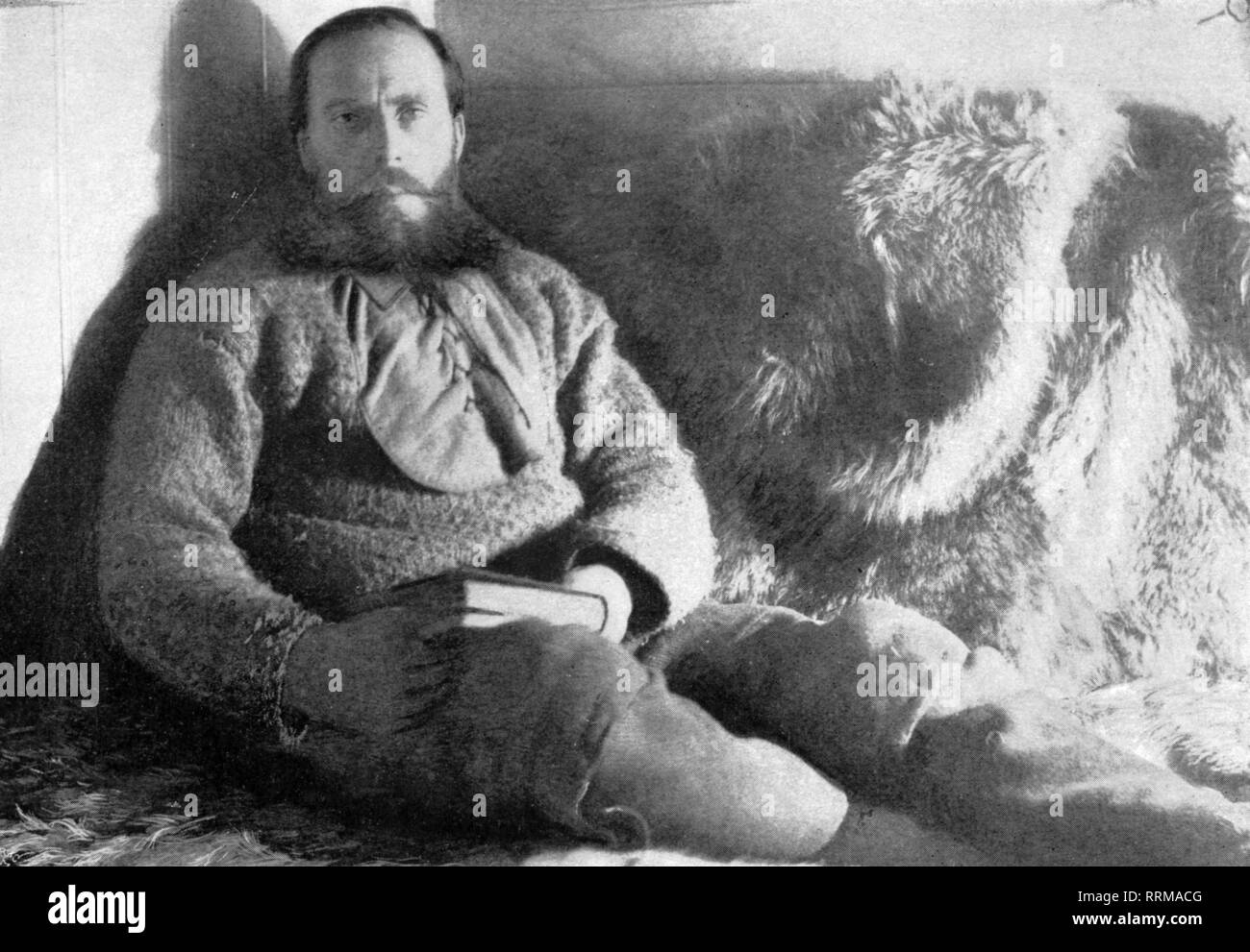Sverdrup, Otto, 31.10.1854 - 26.11.1930, Norwegian navigator and arctic explorer, half length, in his cabin during the Fram expedition 1893 - 1896, from: Fridtjof Nansen, 'In Nacht und Eis', volume I, Leipzig, 1897, Additional-Rights-Clearance-Info-Not-Available - Stock Image