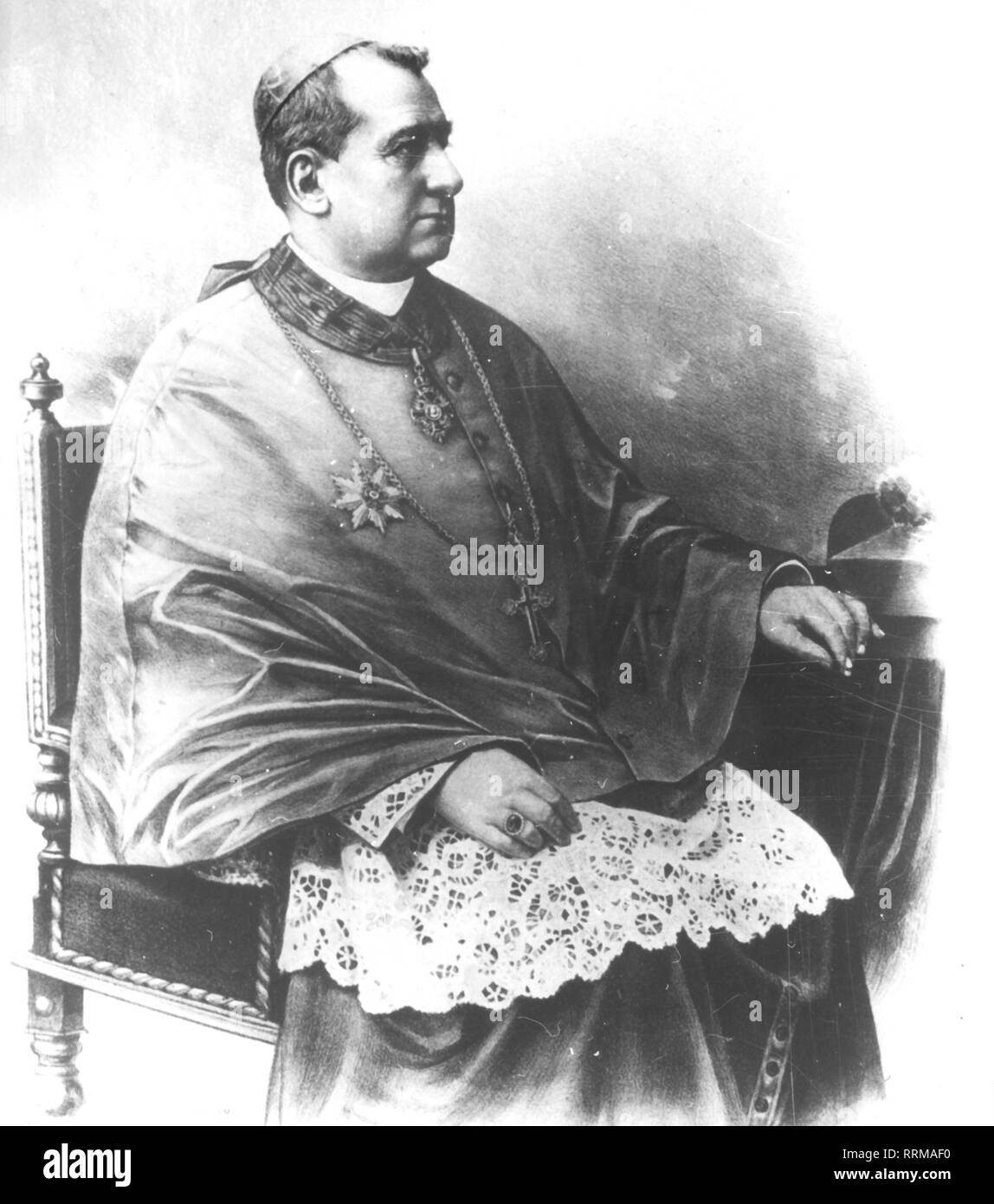 Marschall, Godfried, 1.10.1840 - 23.3.1911, Austrian clergyman, half length, circa 1900, Additional-Rights-Clearance-Info-Not-Available - Stock Image