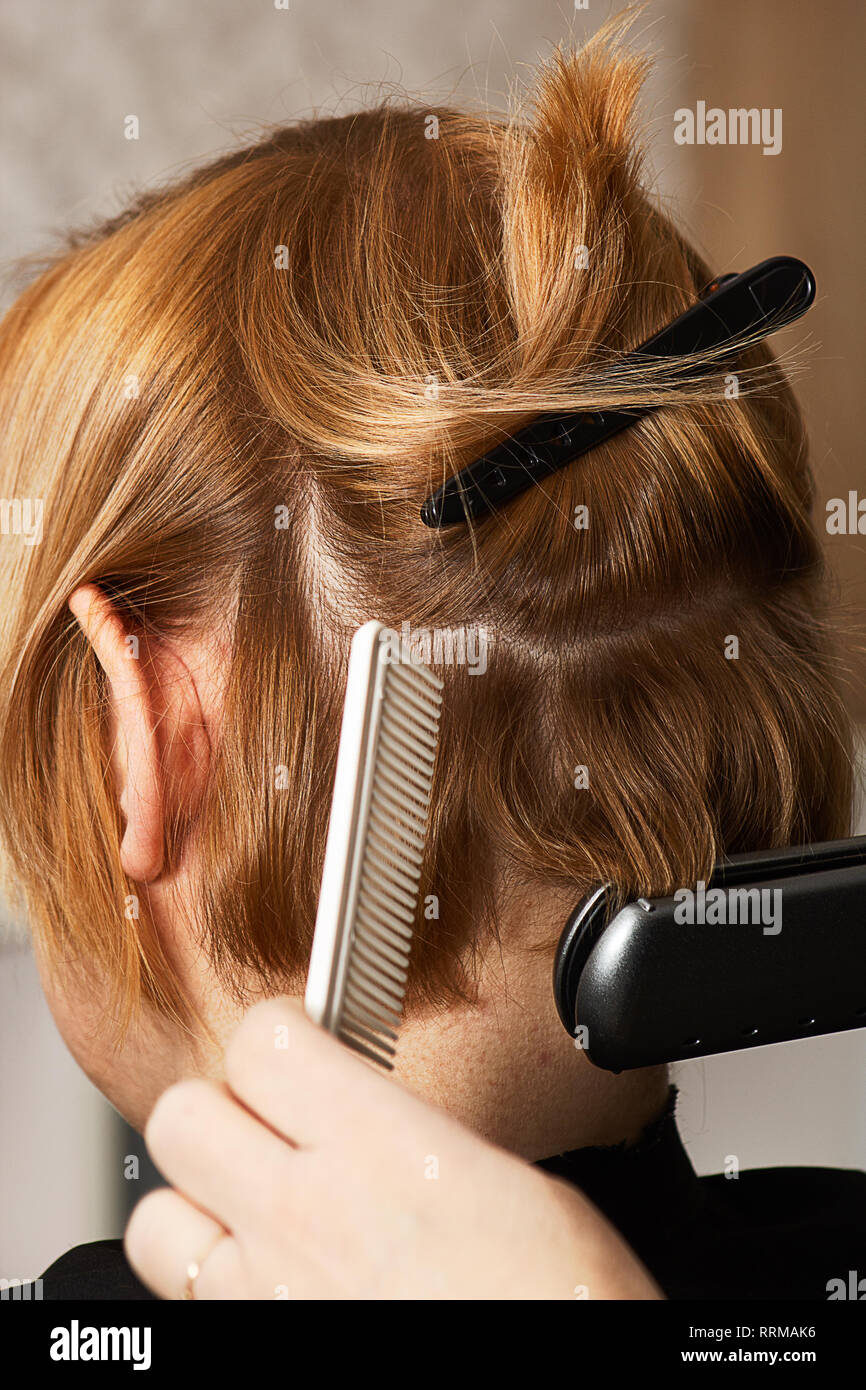 curling short hair with flat iron