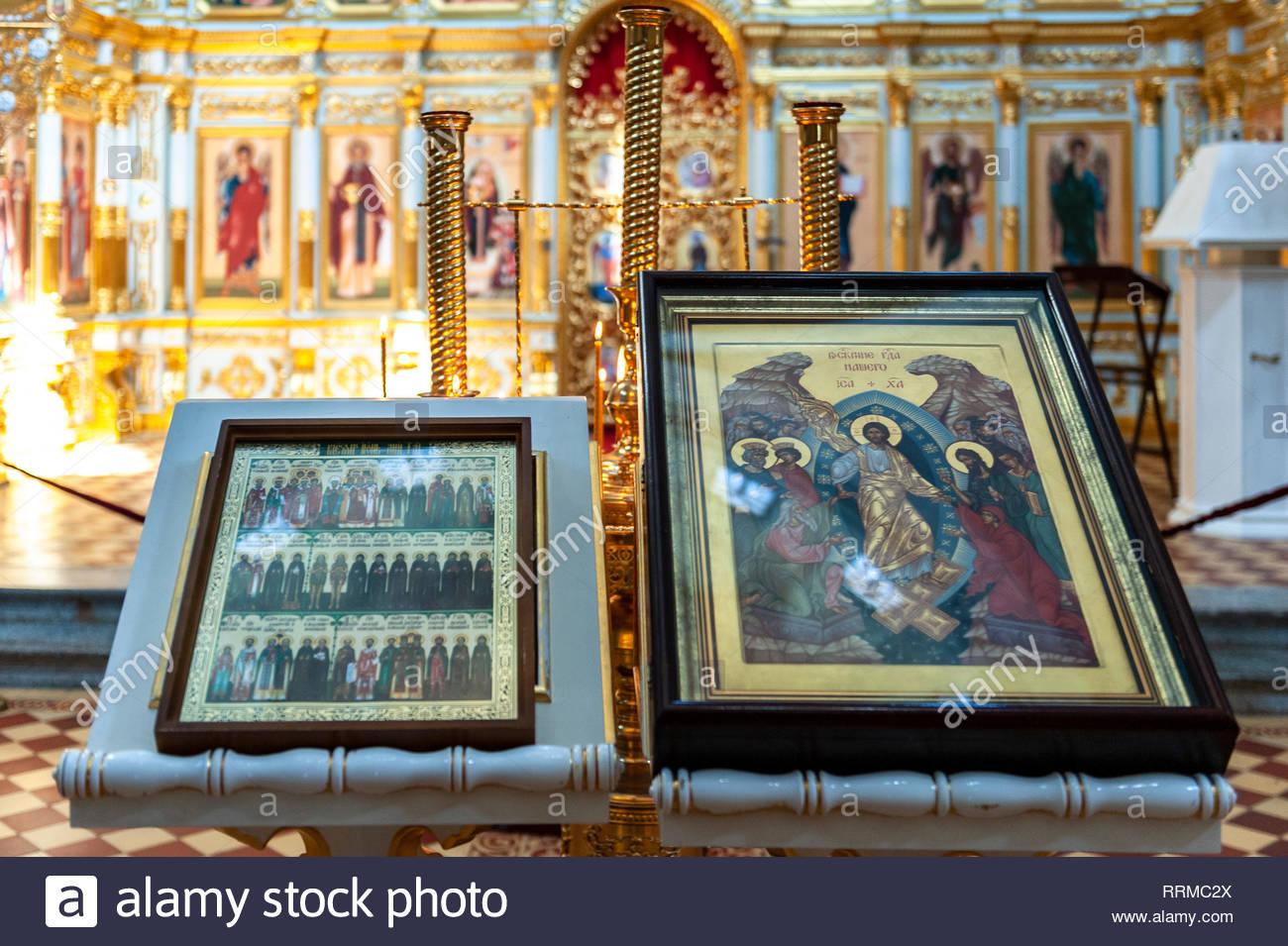 Church Mother of God Joy of All Who Sorrow interior,Sviyazshk,Russia - Stock Image