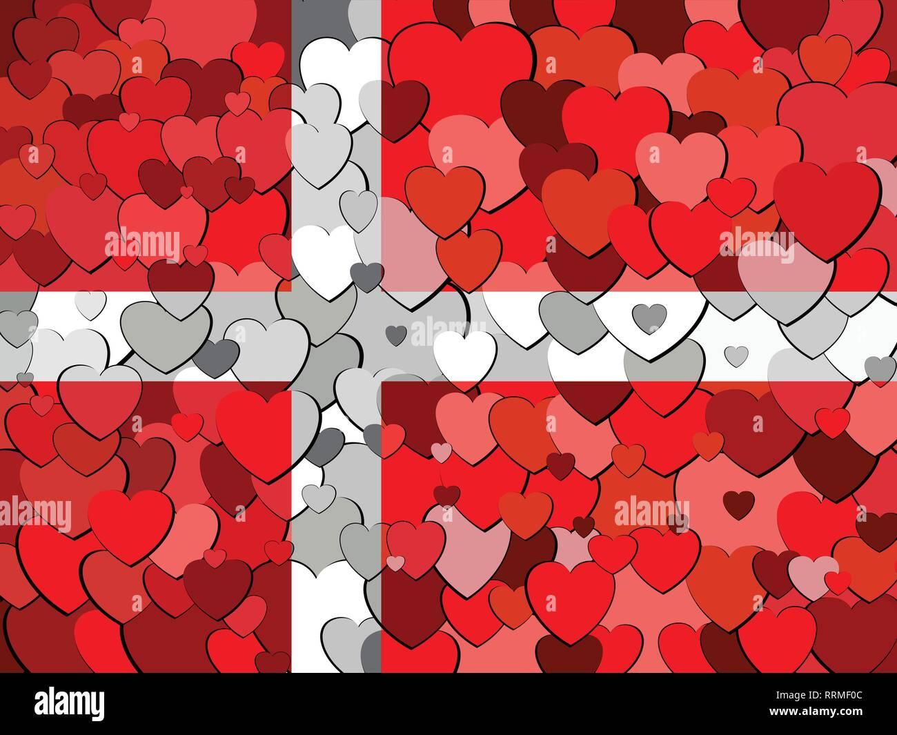 Denmark flag made of hearts background - Illustration - Stock Vector