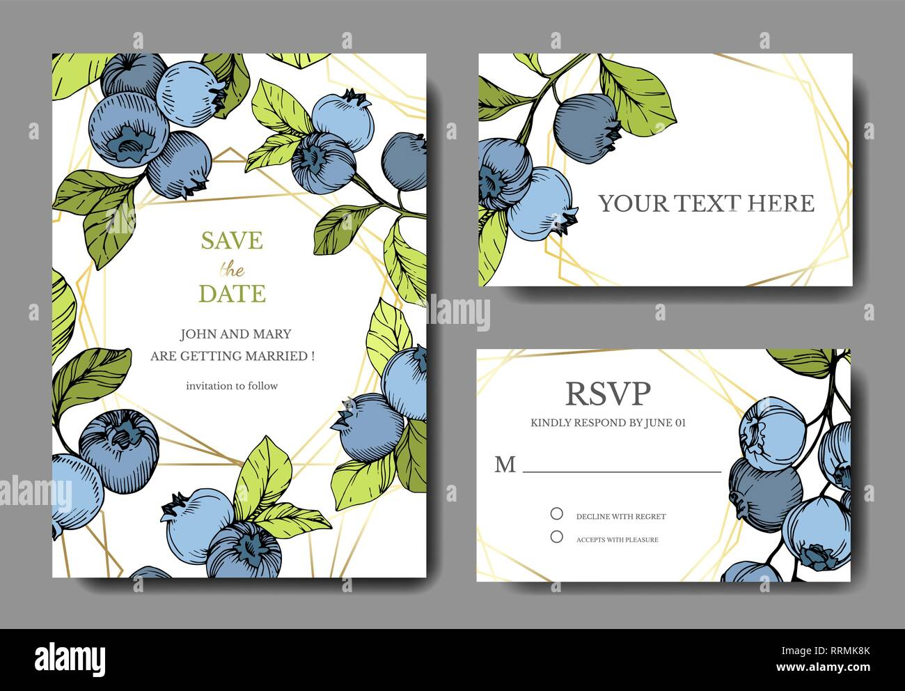 Vector Blueberry Blue And Green Engraved Ink Art Berries