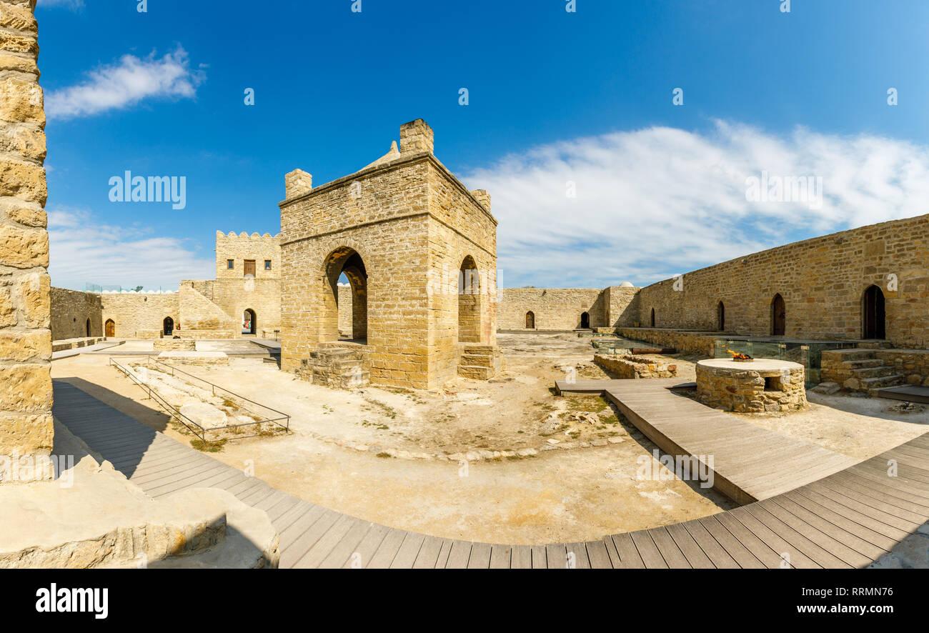 Inner yard of ancient stone temple of Atashgah, Zoroastrian place of fire worship, Baku, Azerbaijan - Stock Image