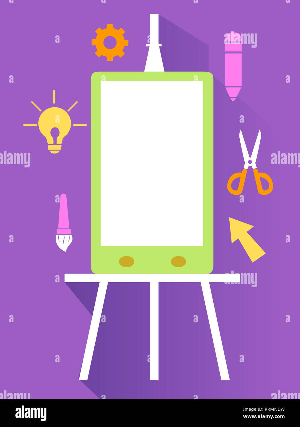 Illustration of a Mobile Phone on Easel with Different Design Icons
