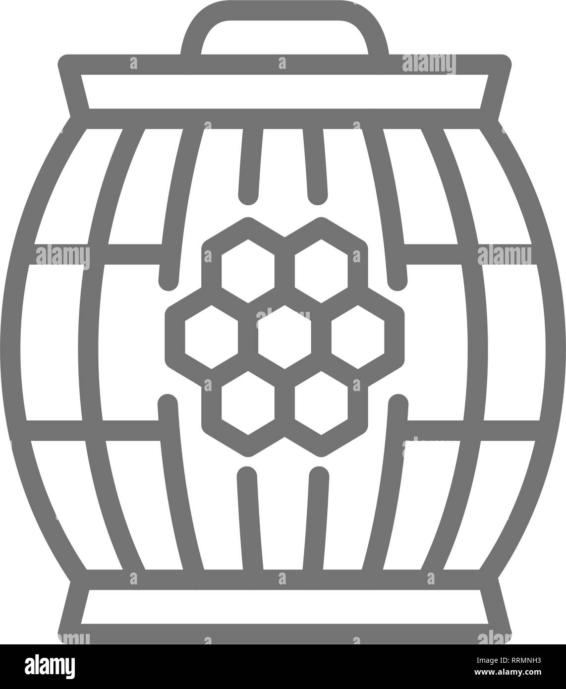 Wooden barrel with honey line icon. - Stock Image