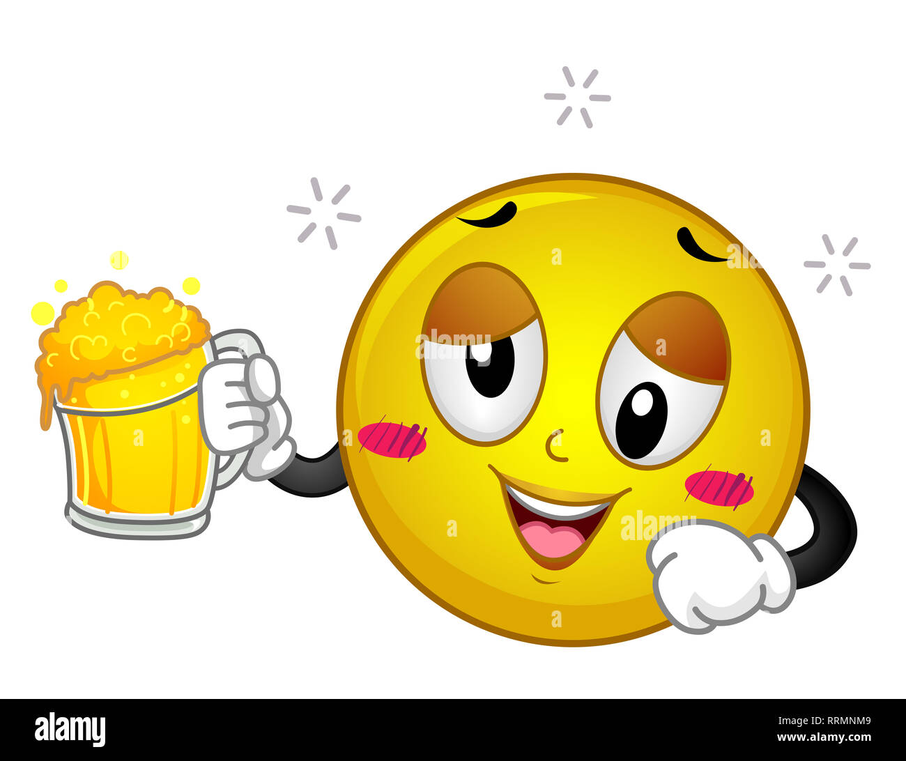 Illustration of a Drunk Smiley Holding a Mug of Beer and ...