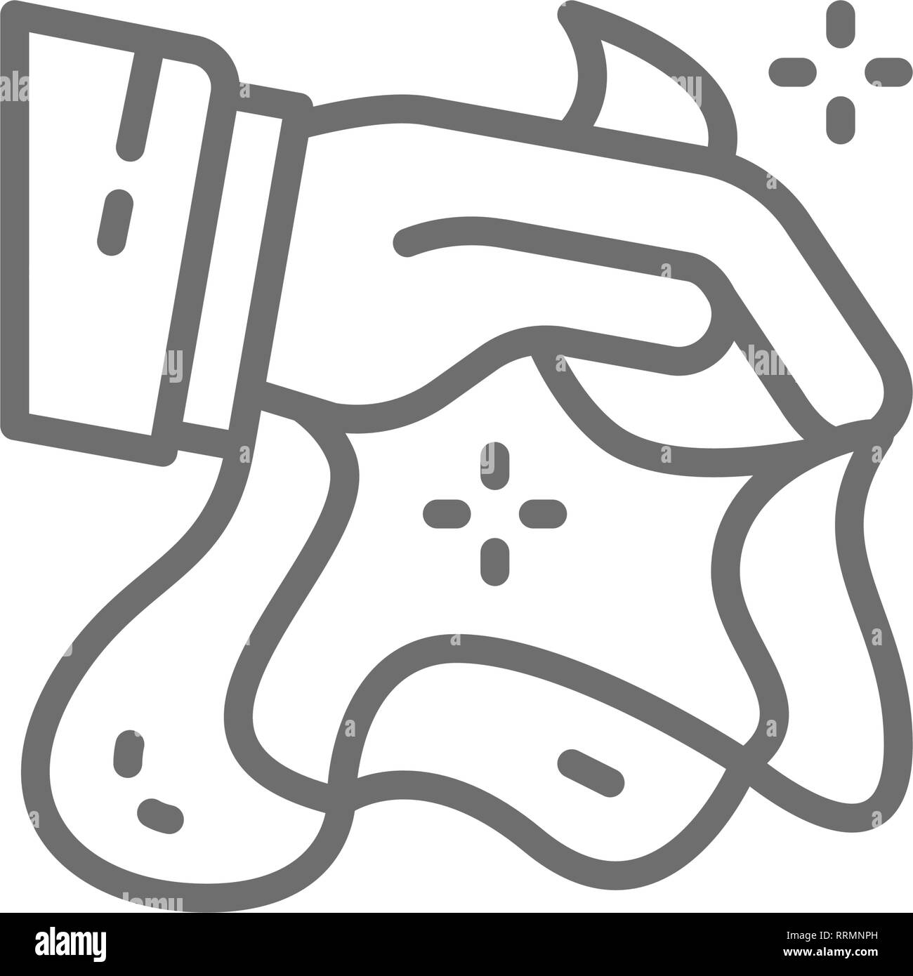 Magic trick with handkerchiefs, circus line icon. - Stock Vector