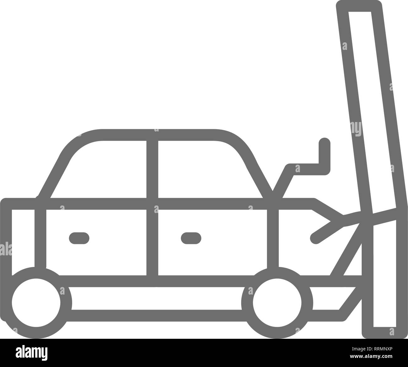 Car hit into a pole, transportation crash, accident line icon. Stock Vector