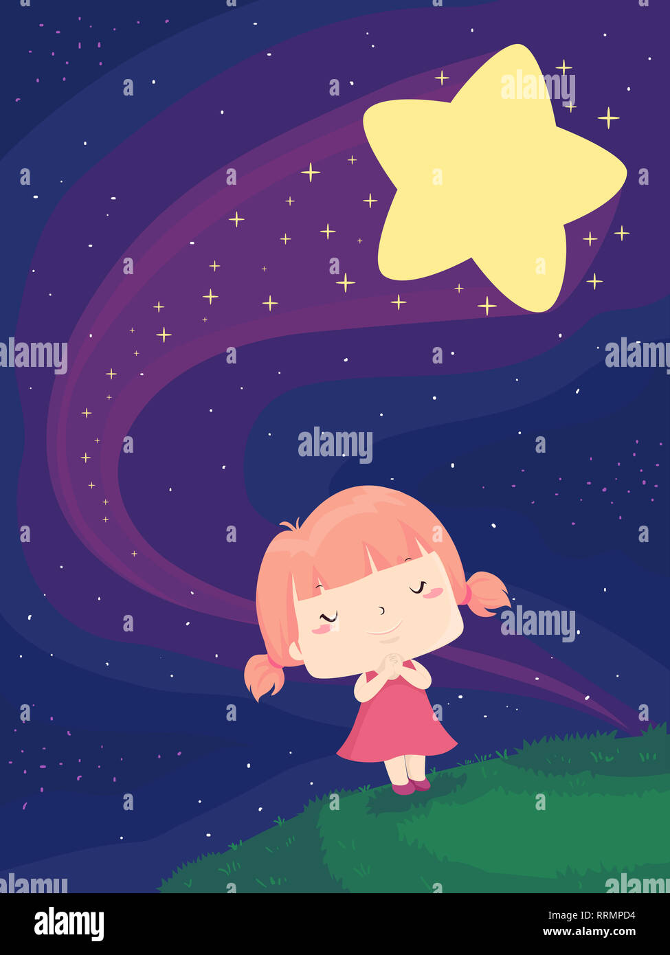 Illustration of a Kid Girl with Eyes Closed Wishing Earnestly on a