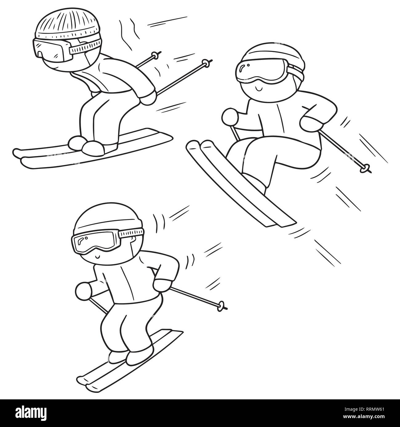 vector set of skiing - Stock Image