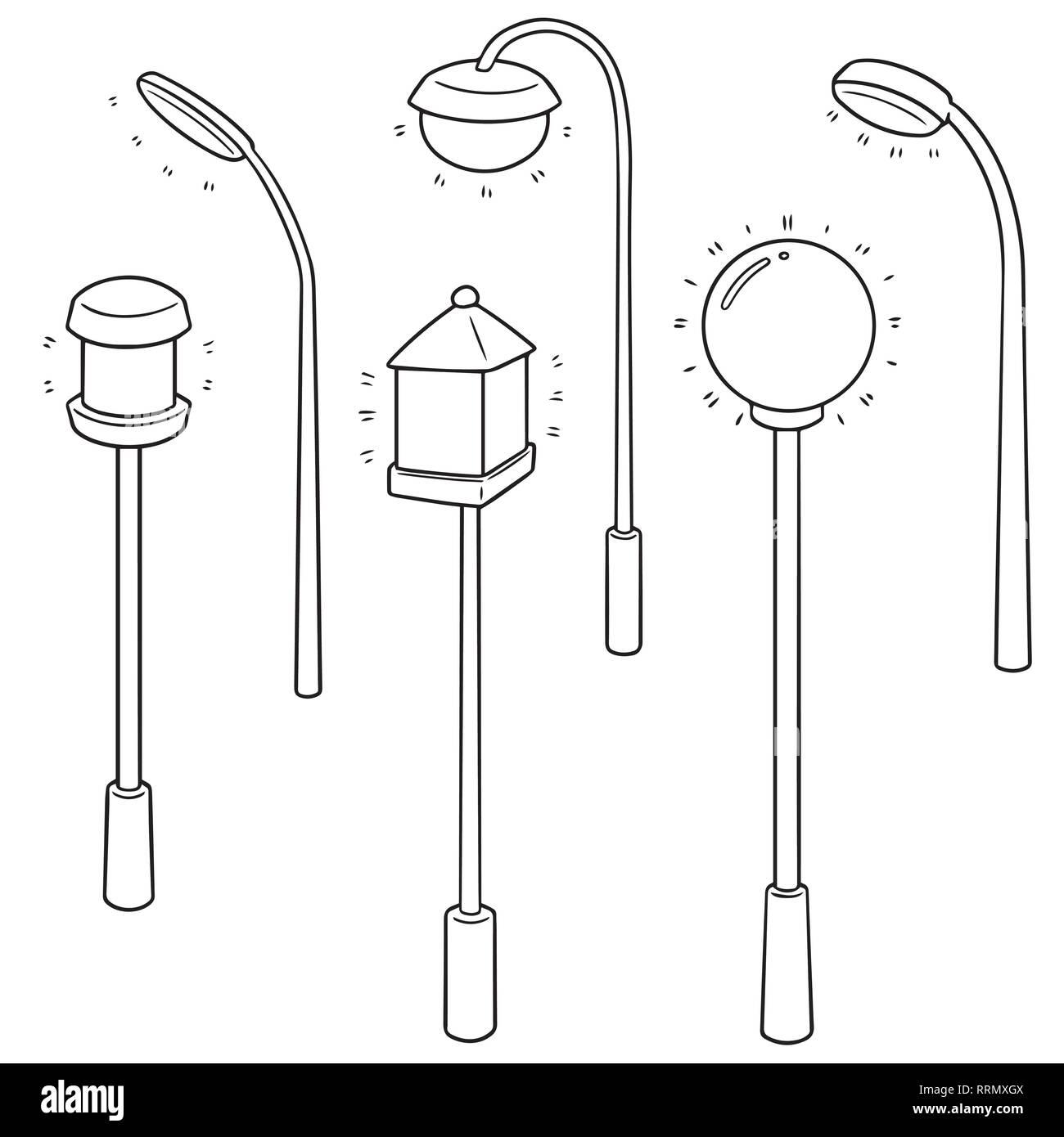 vector set of outdoor lamp Stock Vector