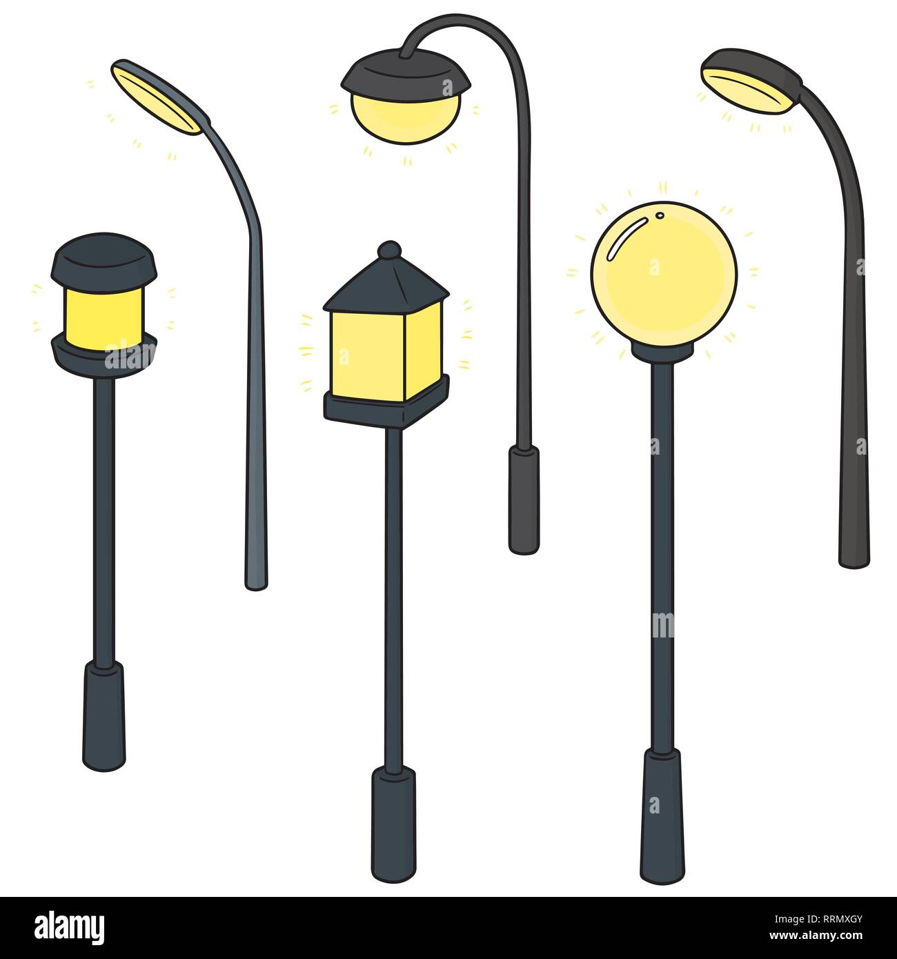 vector set of outdoor lamp Stock Vector