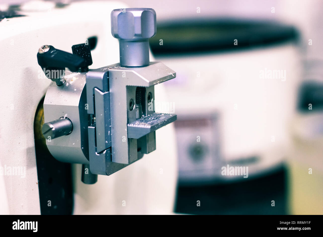 a pathological tissue grossing section thin slice making microtome for hitopathological analysis - Stock Image