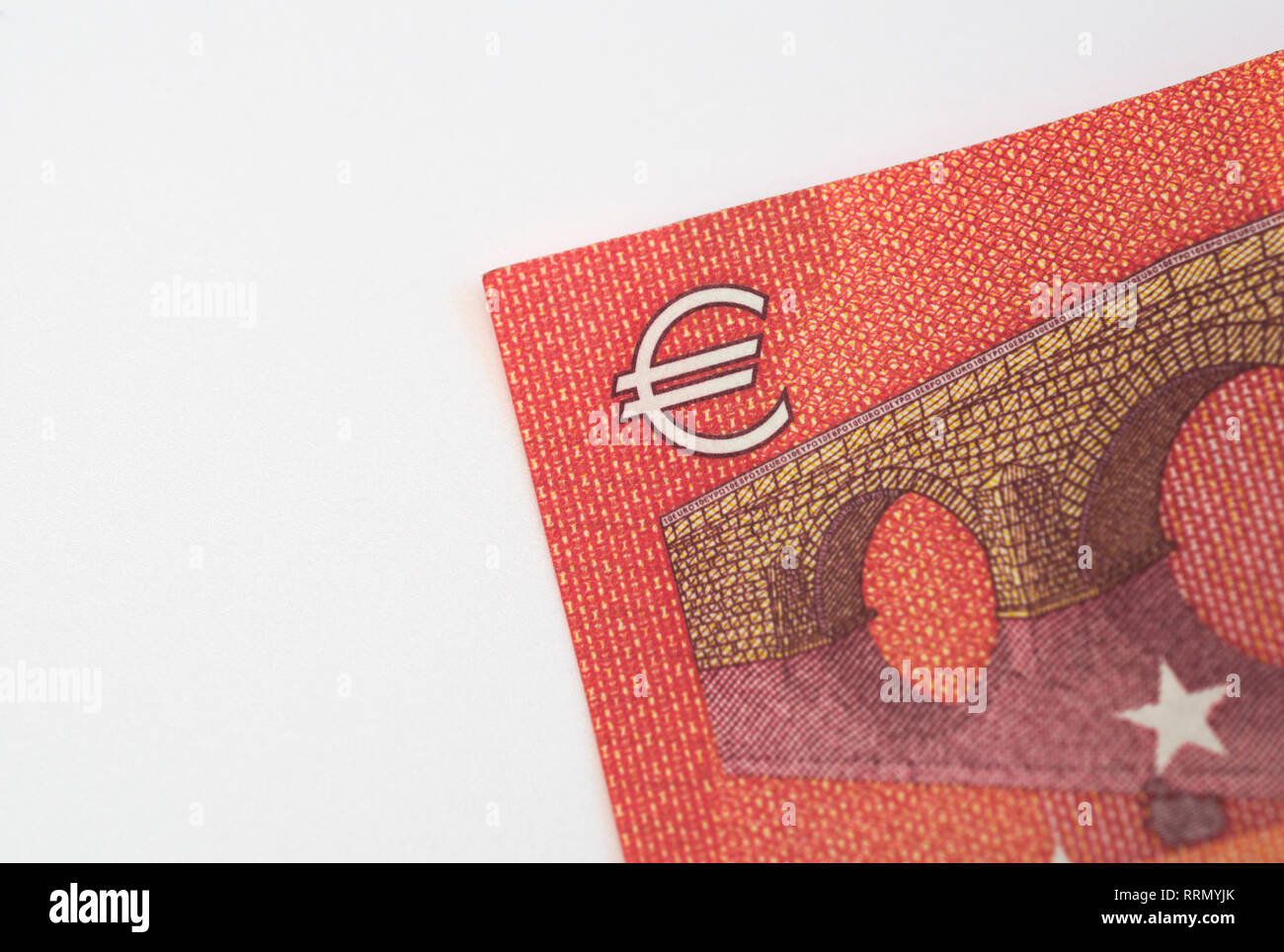 Euro currency symbol on 10 euro banknote - Stock Image
