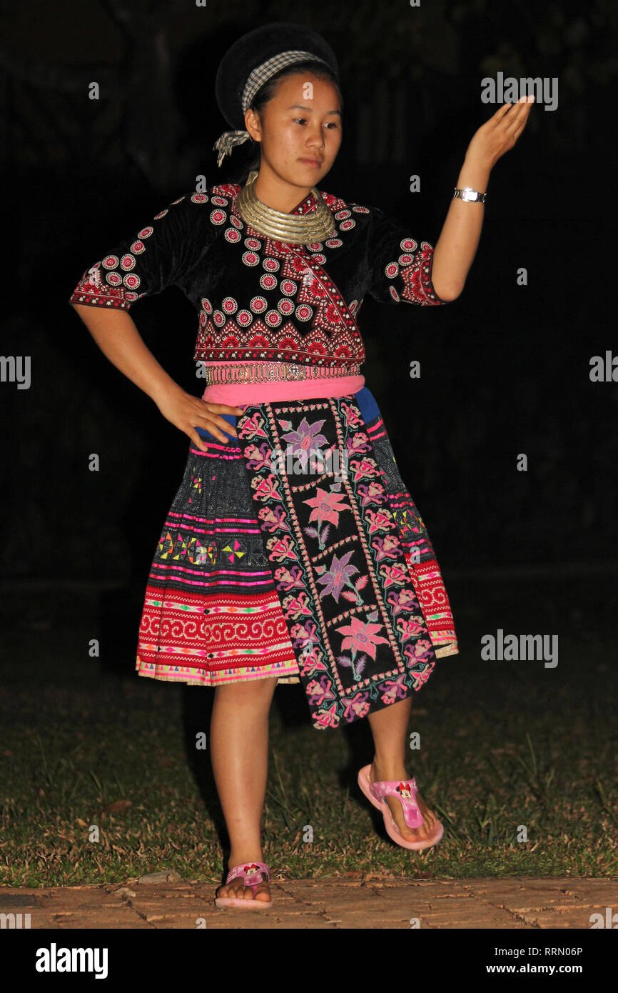 Hmong Tribe Girl Performing Traditional Dance, Thailand - Stock Image