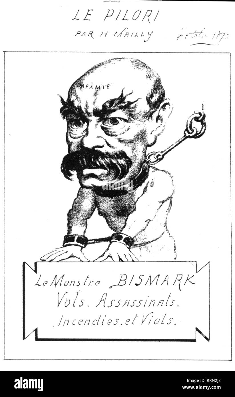 Bismarck, Otto von, 1.4.1815 - 30.7.1898, German politician, caricature, 'The Monster Bismarck', drawing by Hippolyte Mailly, 'Le Pilori', Paris, October 1870, Additional-Rights-Clearance-Info-Not-Available - Stock Image