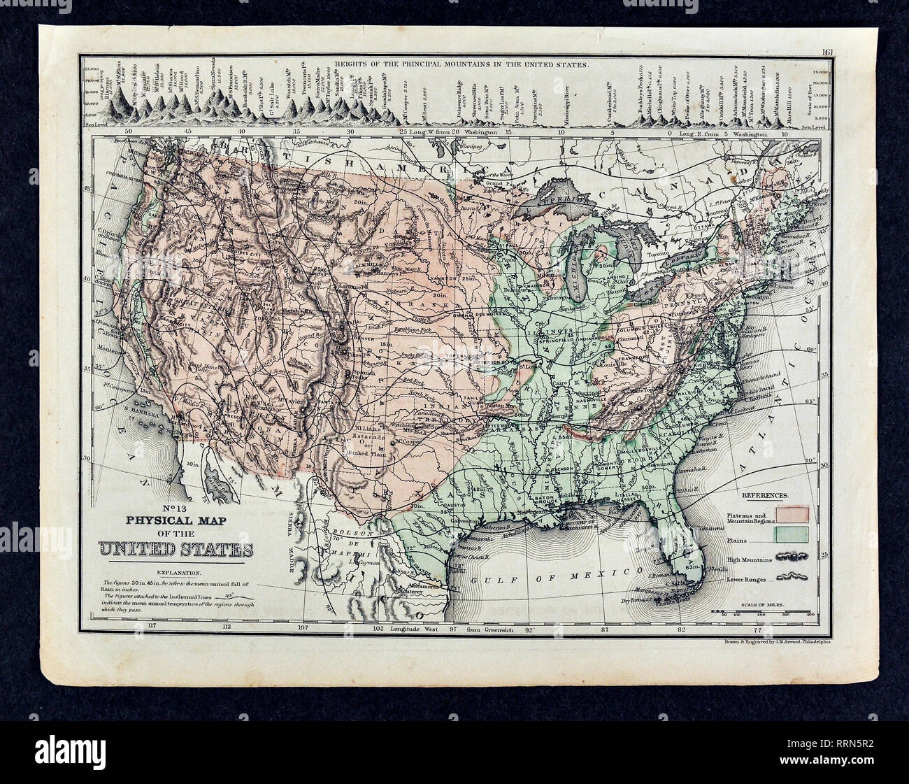 1868 Mitchell Physical Map Of The United States Of America Showing Mountain Ranges Plateaus And Plains Stock Photo Alamy