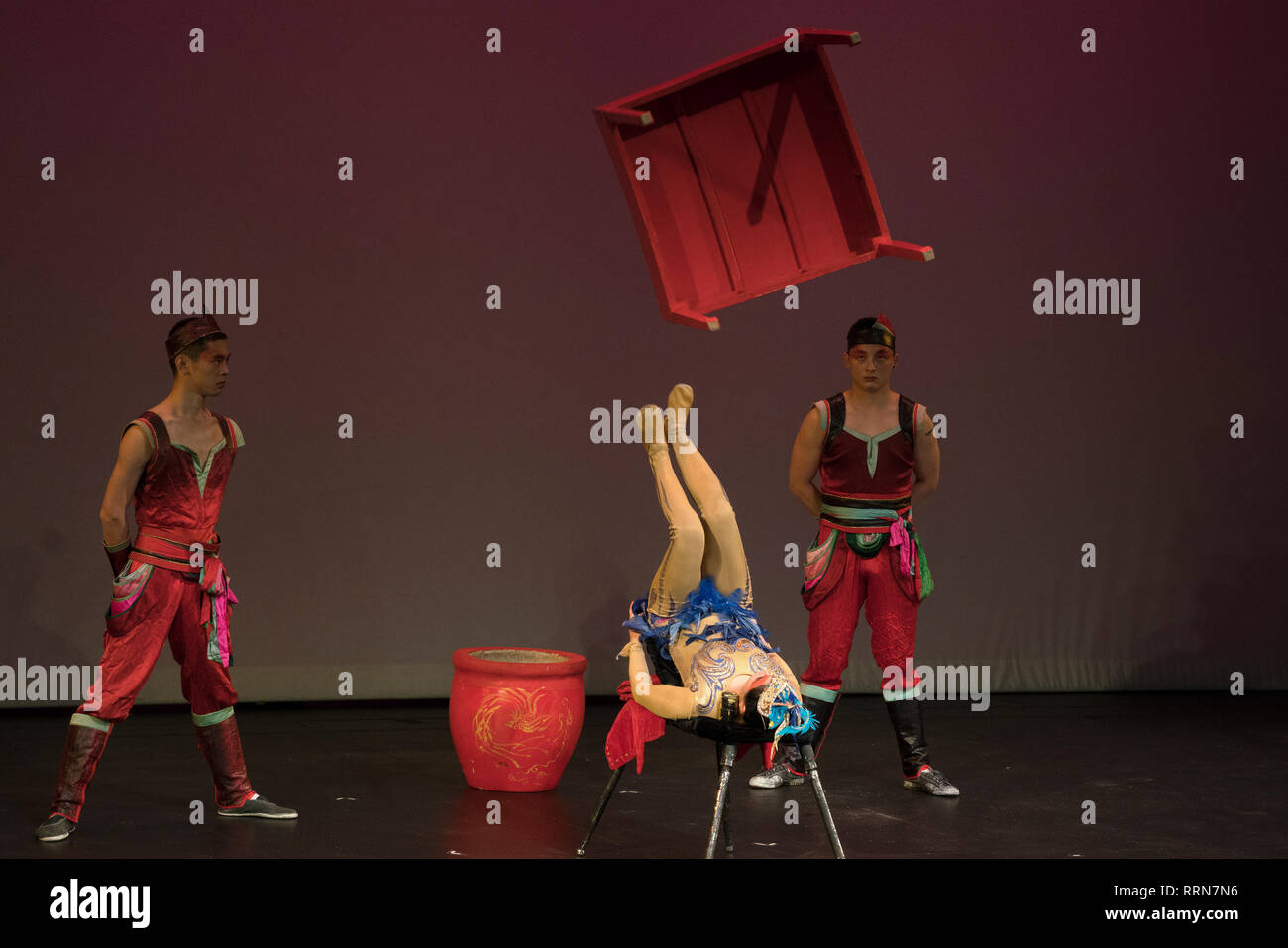Acrobats from the New Shanghai Circus performed astonishing feats of precision, strength and balance. - Stock Image