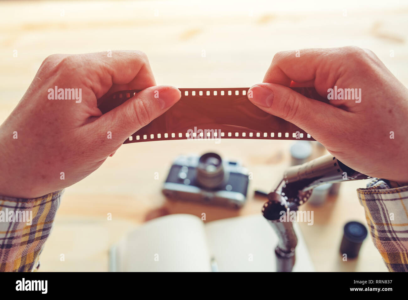 Photographer examining film negative in photo studio - Stock Image