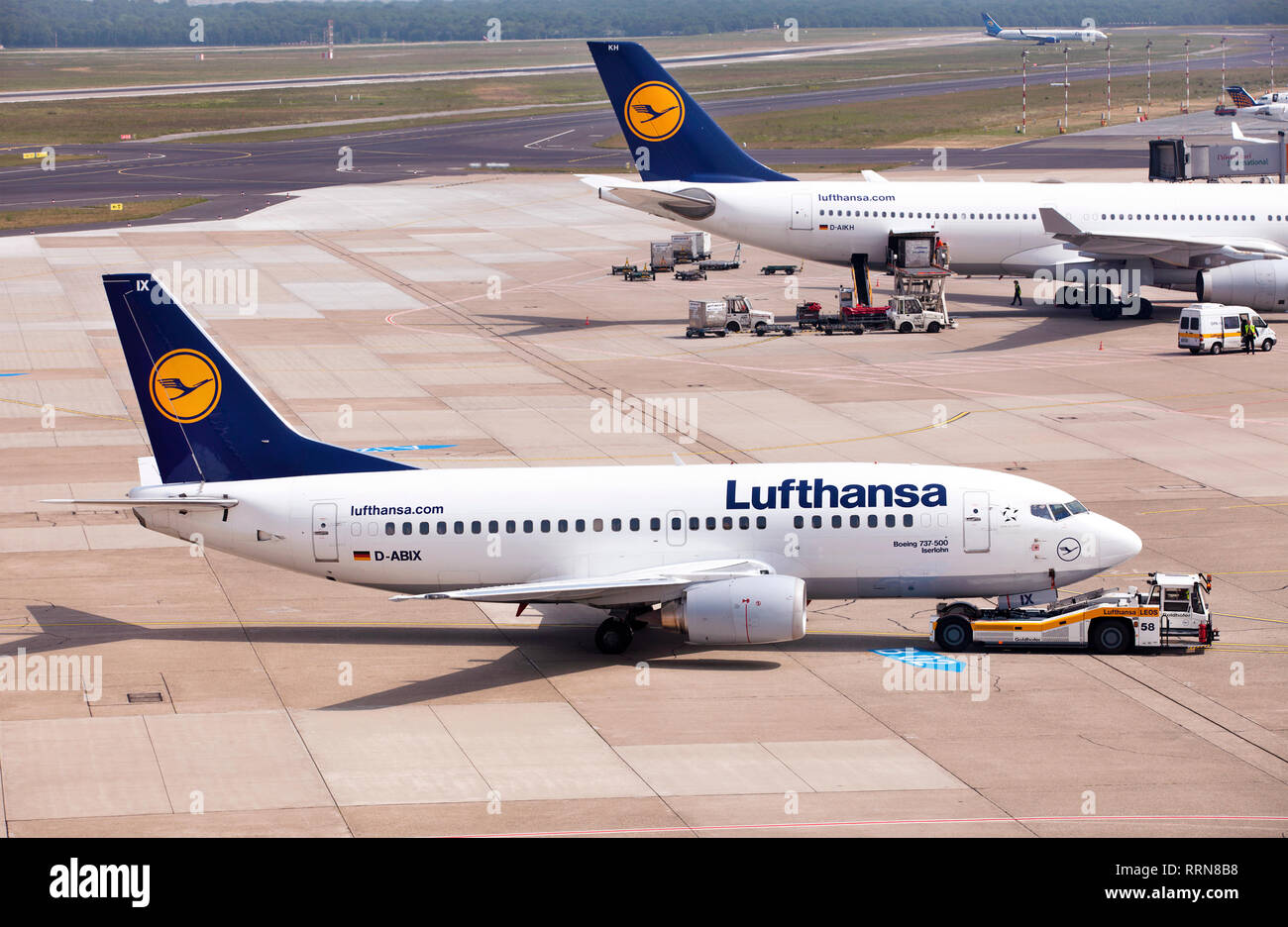 Passenger aircraft of Lufthansa German airlines before takeoff on a runway of an airport in Germany - Stock Image