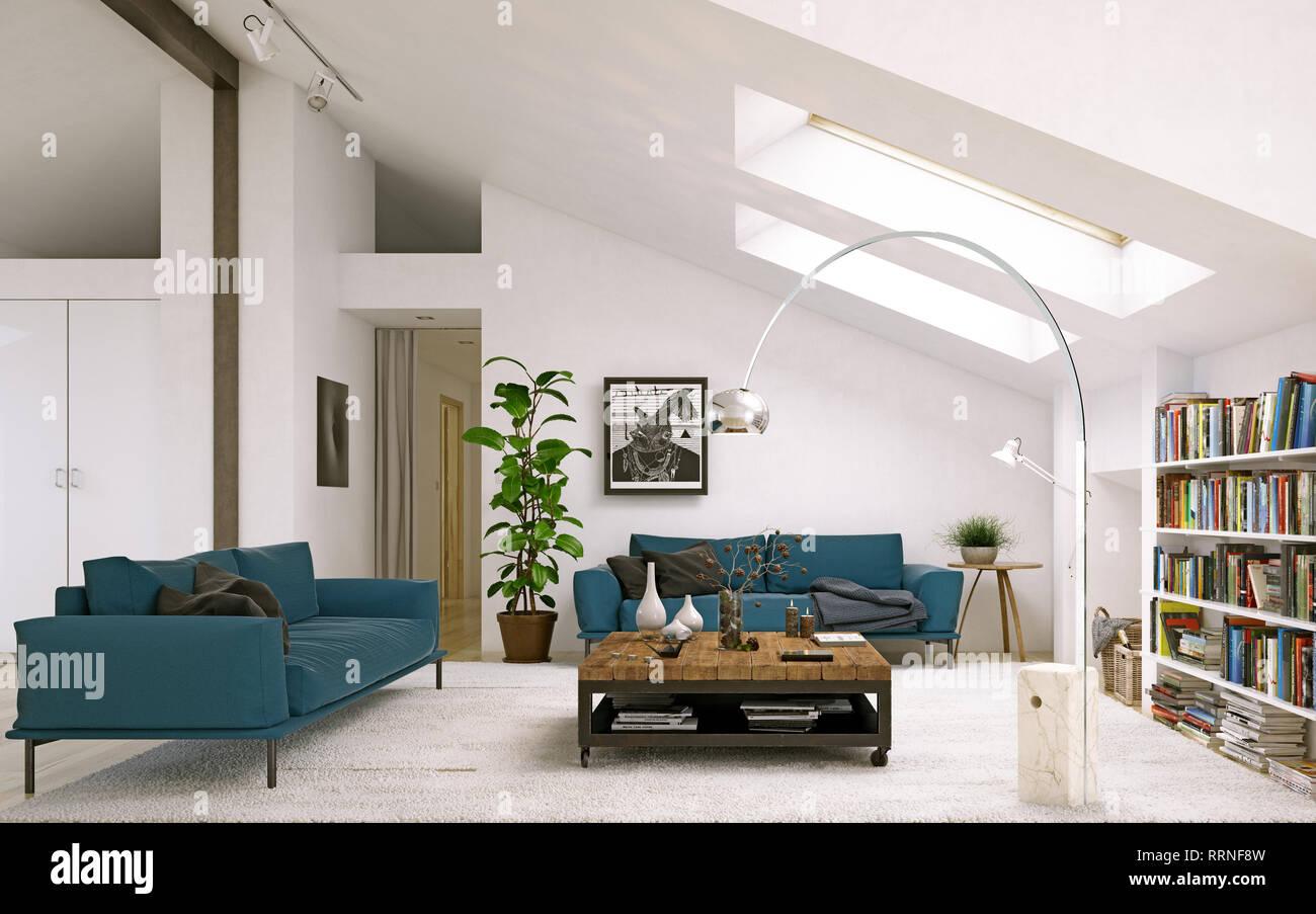Modern Living Room. Scandinavian Interior Design. 3d ...