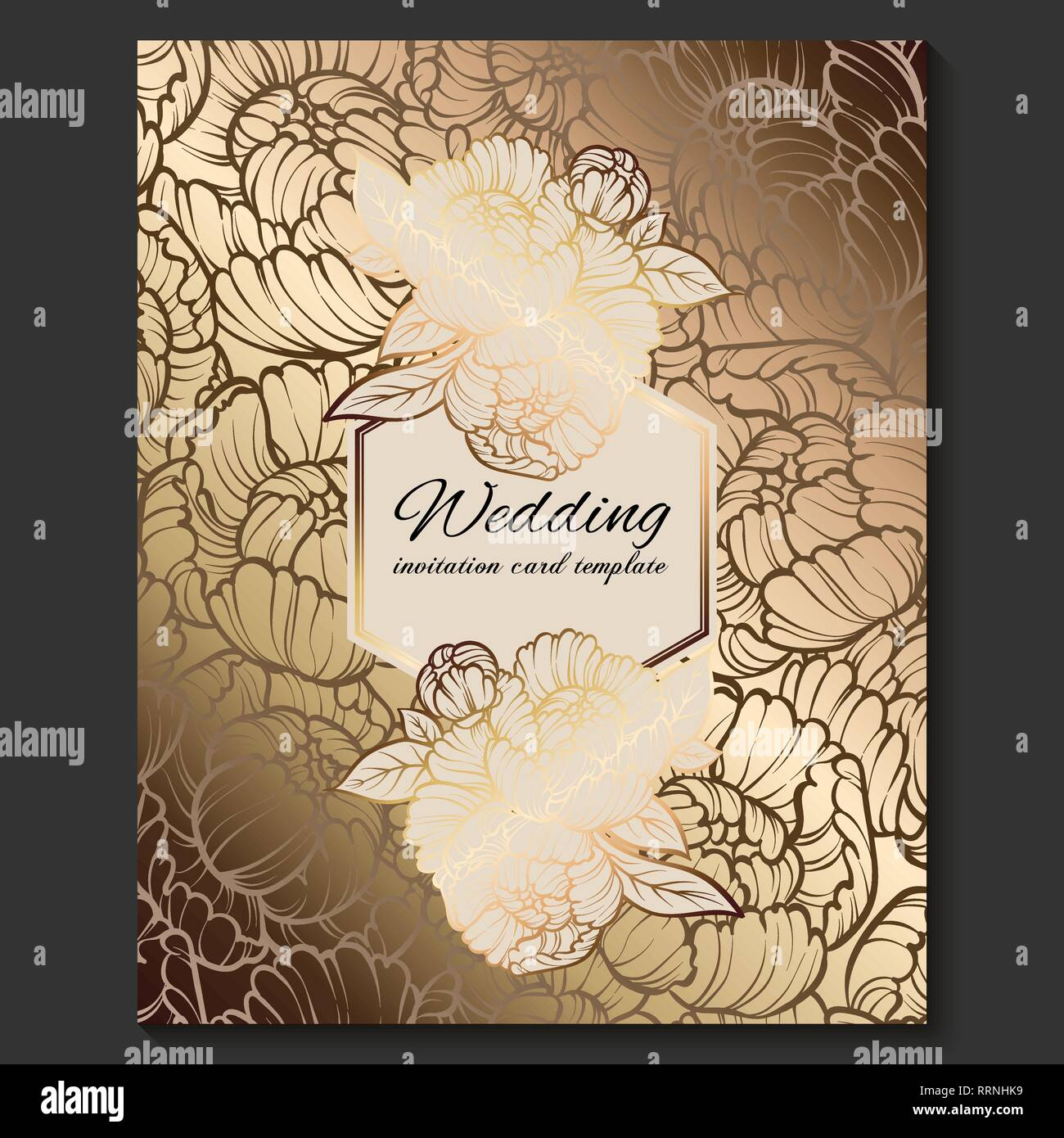 Antique Royal Luxury Wedding Invitation Gold On Beige Background With Frame And Place For Text Lacy Foliage Made Of Roses Or Peonies With Shiny Grad Stock Vector Image Art Alamy