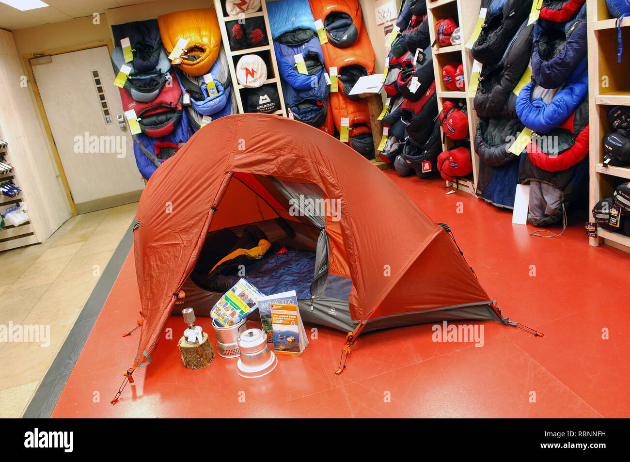 Camping gear, climbing equipment for sale in cotswold outdoors. Cotswold outdoor shop. - Stock Image