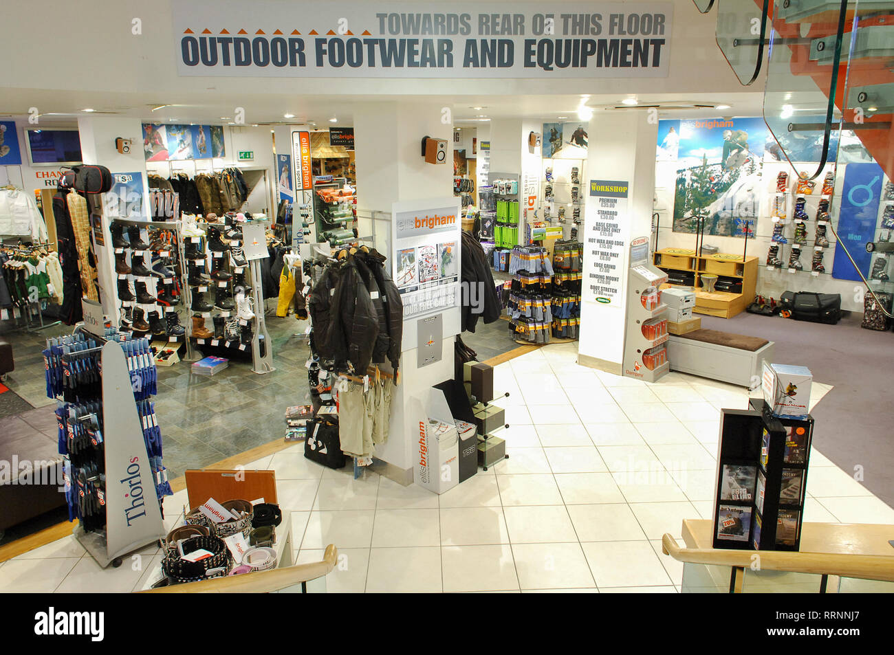 c4b29b9416d501 Climbing and cold weather clothing for sale in an outdoor shop Stock ...