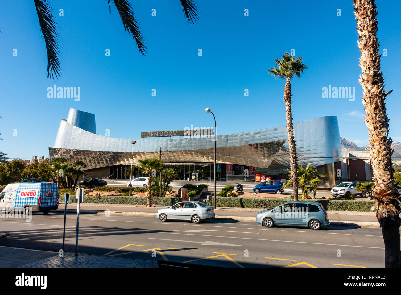 The Benidorm Palace, famous show bar cabaret club in Benidorm, Costa Blanca, Spain with it's distinctive shape and stainless steel finish. Stock Photo