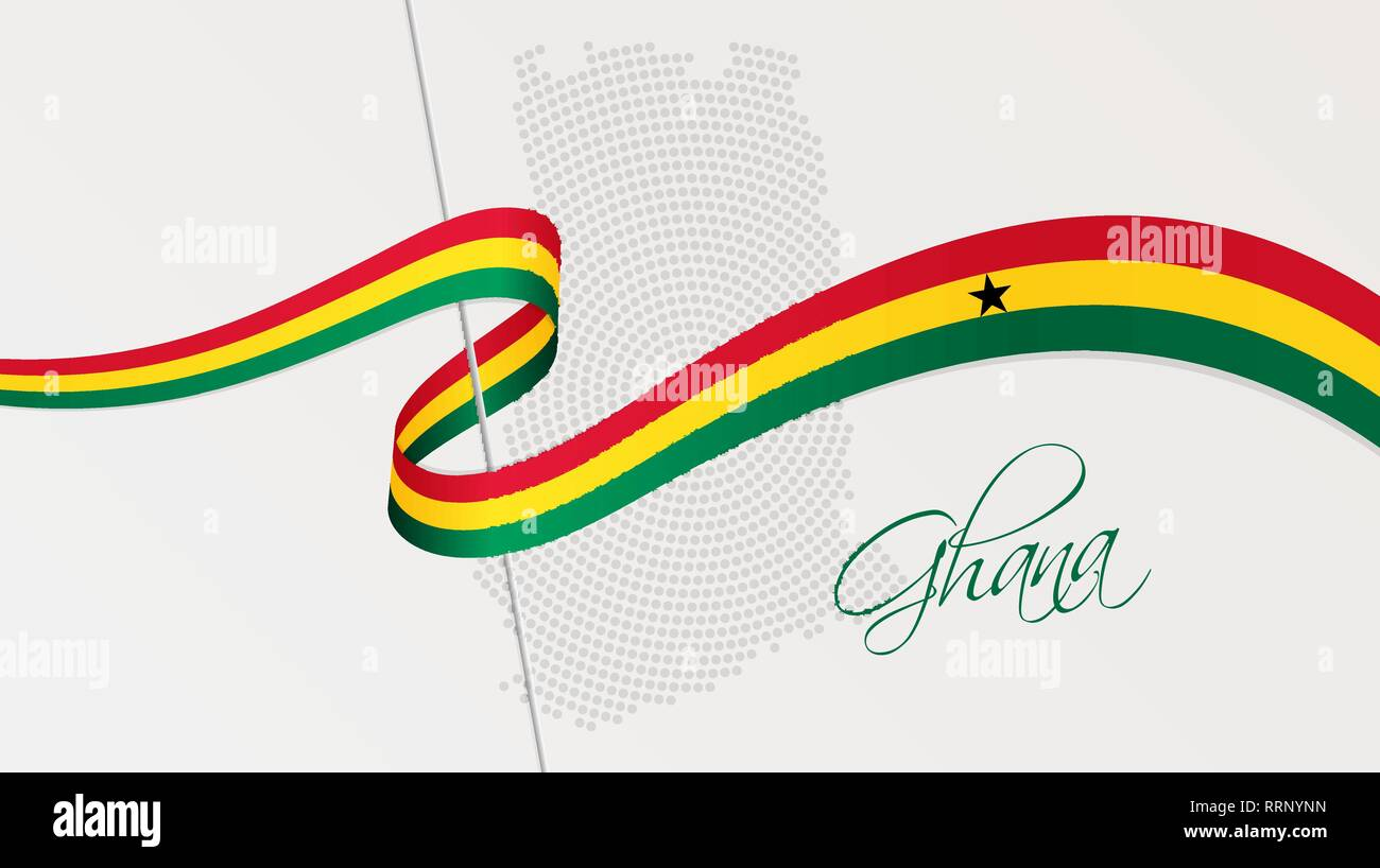 Vector illustration of abstract radial dotted halftone map of Ghana and wavy ribbon with Ghanaian national flag colors for your graphic and web design - Stock Vector