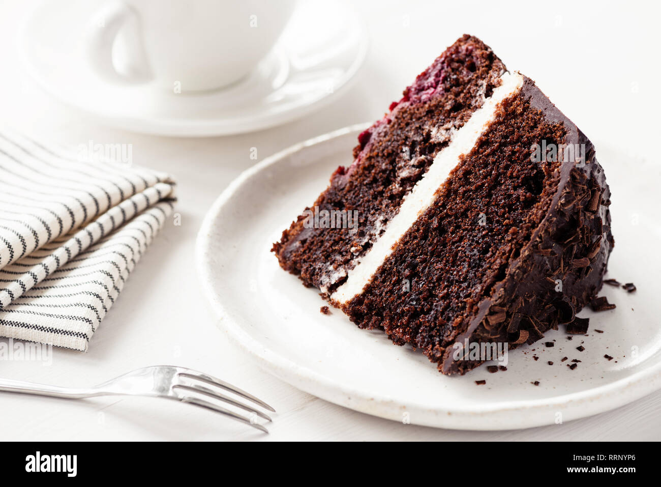 Fabulous Chocolate Cake With Cream Filling Slice Of Dark Chocolate Cake On Funny Birthday Cards Online Amentibdeldamsfinfo