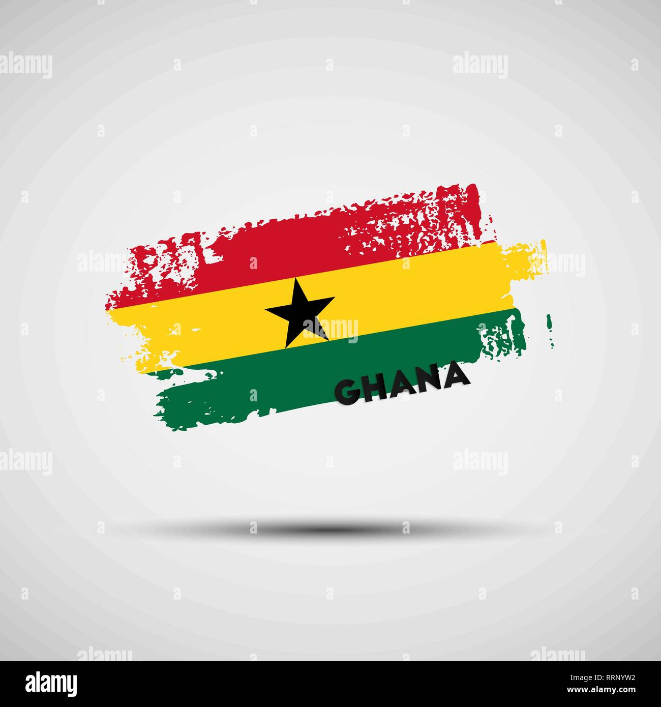 Flag of Ghana. Vector illustration of grunge brush stroke with Ghanaian national flag colors for your graphic and web design - Stock Vector