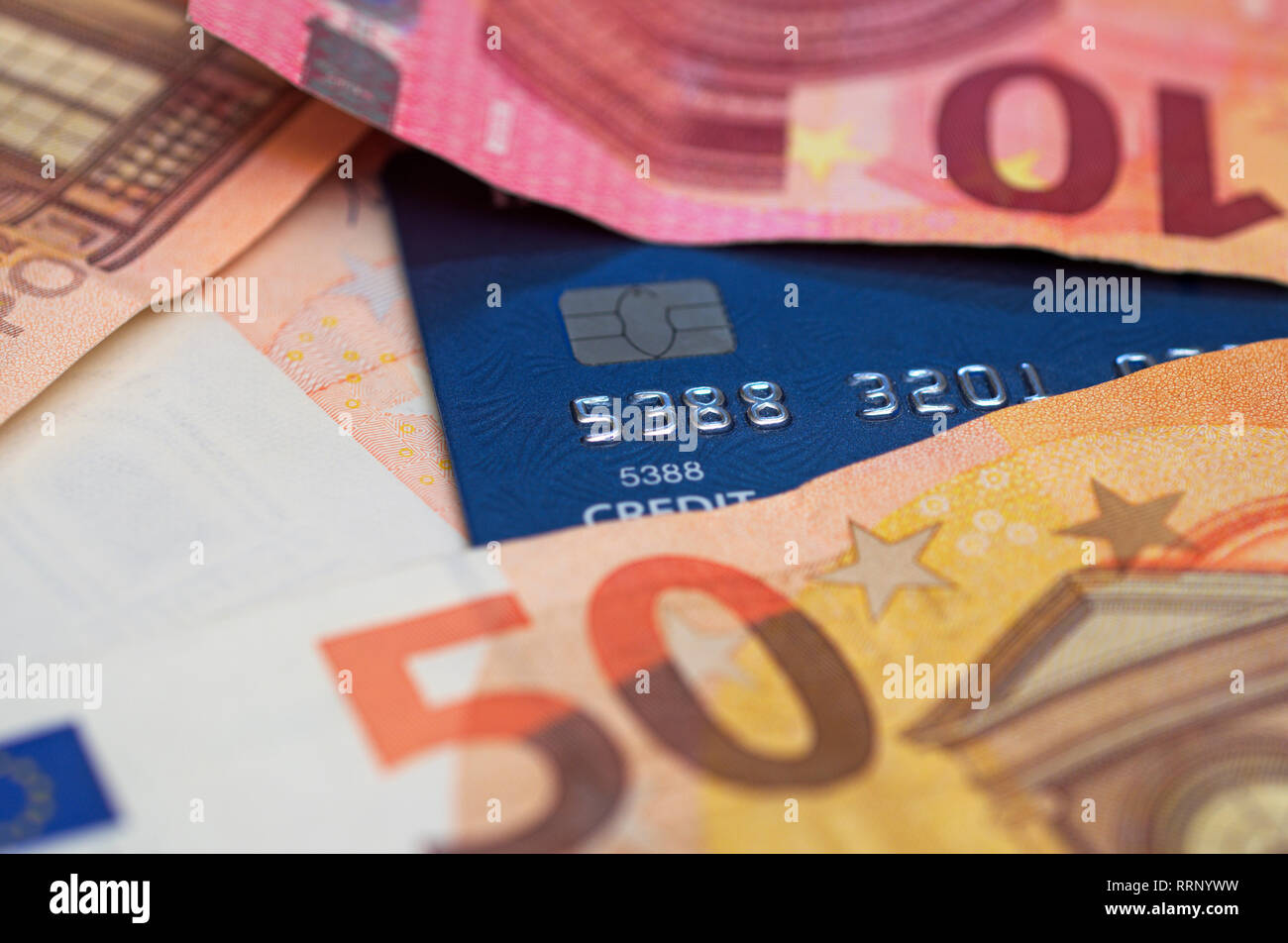 euro banknotes and credit card Stock Photo