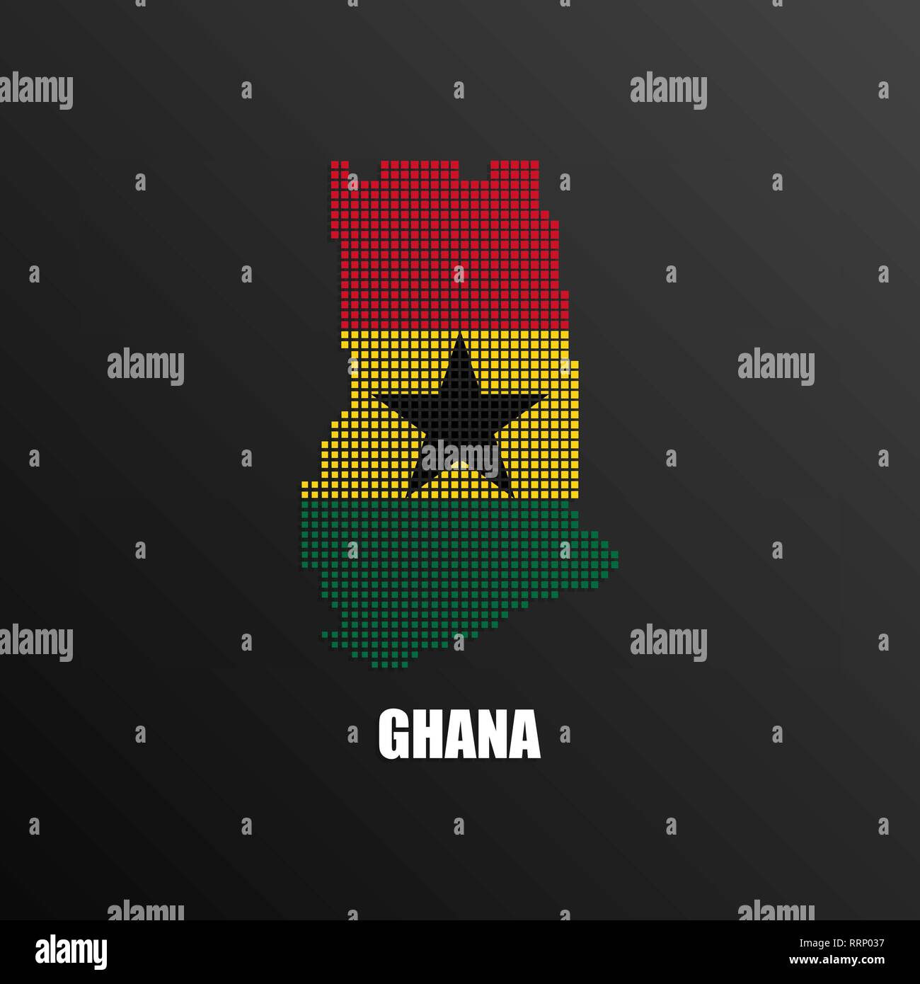 Vector illustration of abstract halftone map of Ghana made of square pixels with Ghanaian national flag colors for your graphic and web design - Stock Vector
