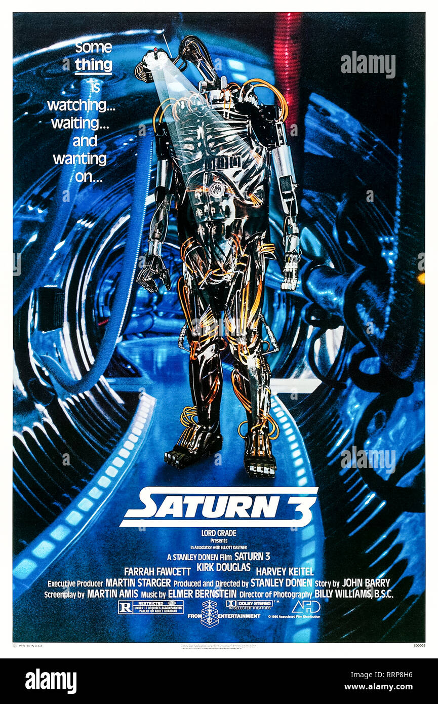 Saturn 3 (1980) directed by Stanley Donen and starring Farrah Fawcett, Kirk Douglas and Harvey Keitel. British techno-horror film about two lovers in a remote base have their tranquil lives ruined by a killer robot. Stock Photo