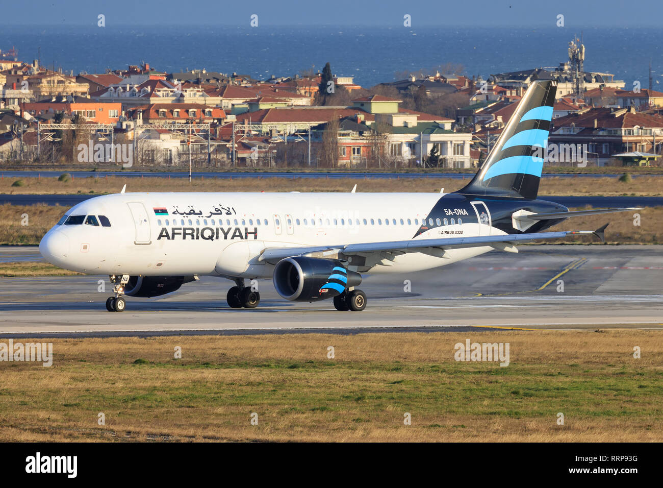 Istanbul/Turkey, February 12 2019: Afriqiah Airbus a320 at Istanbul new Airport (ISL/LFTM) - Stock Image